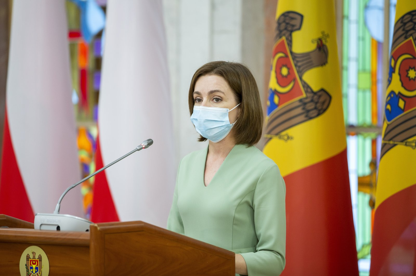 Moldovan President Maia Sandu during a joint press briefing with Polish President Duda (not pictured) at the Presidential Palace, in Chisinau, Moldova, Aug. 26, 2021. (EPA Photo)