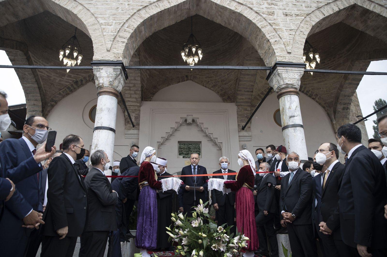 President Recep Tayyip Erdoğan attends the opening ceremony of the Bascarsija Mosque in Sarajevo, Bosnia-Herzegovina, Friday, Aug. 27, 2021. (AA Photo)