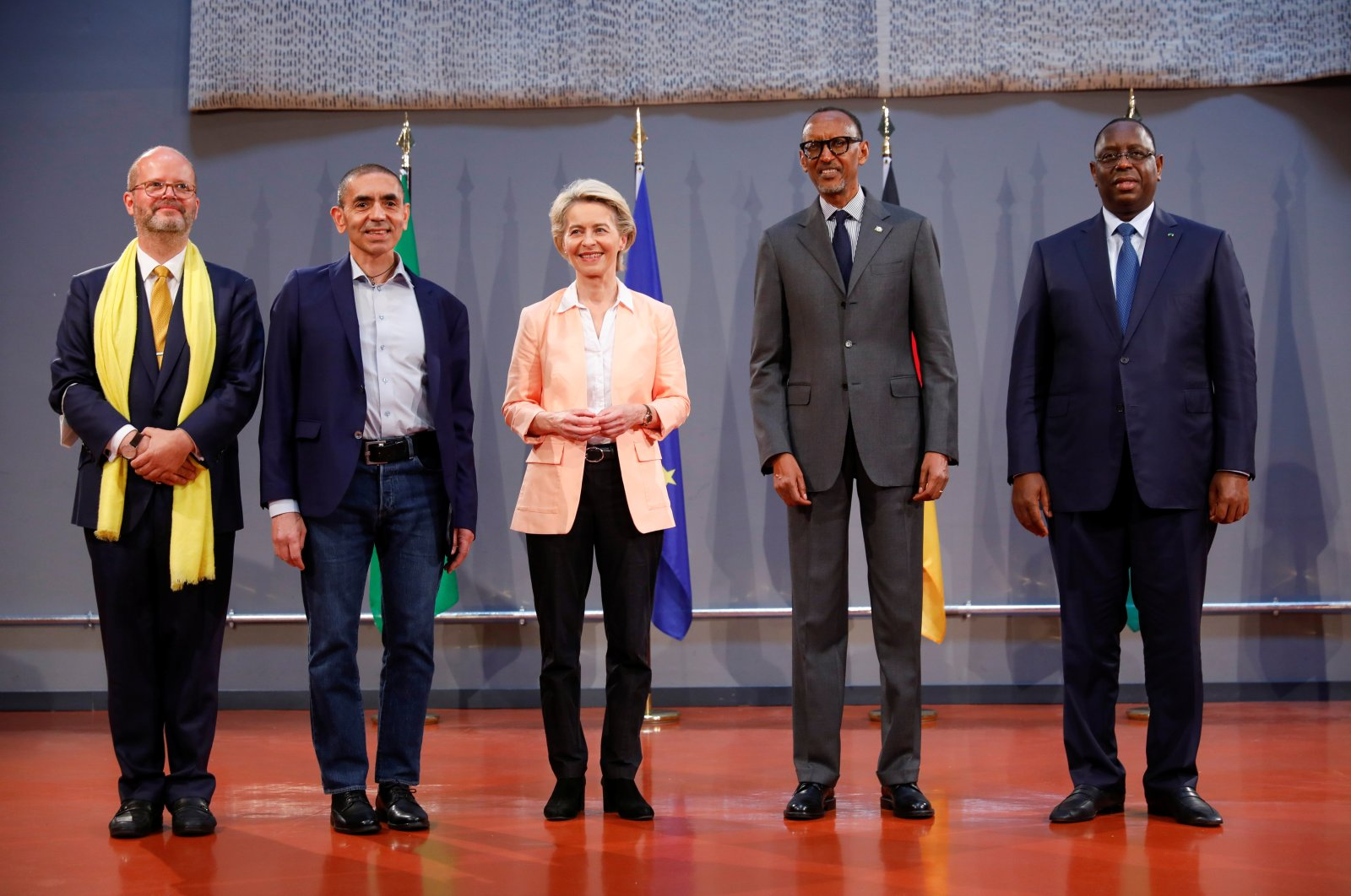 From left to right: CEO of kENUP Foundation, Holm Keller; CEO and co-founder of BioNTech, Uğur Şahin; European Commission President Ursula von der Leyen; Rwandan President Paul Kagame and Senegalese President Macky Sall in Berlin, Germany, Aug. 27, 2021. (Reuters Photo)