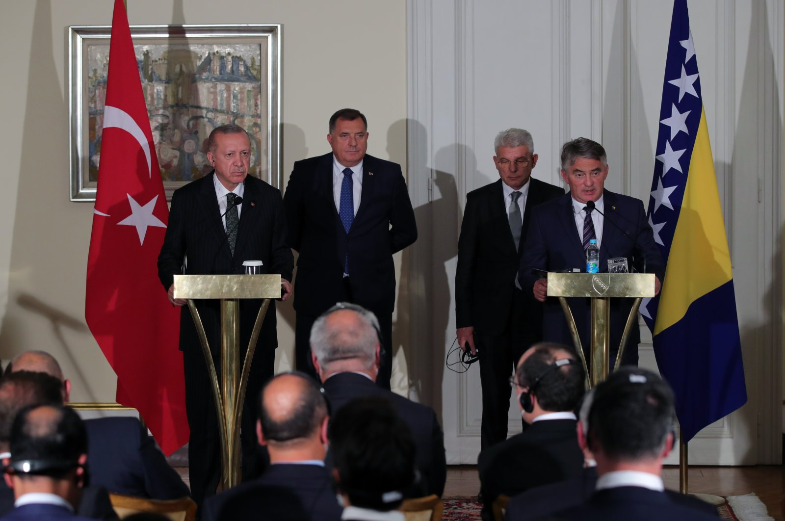 President Recep Tayyip Erdoğan speaks at a news conference held with the members of the Presidential Council at the Presidential Palace of Bosnia-Herzegovina, Aug. 27, 2021. (AA Photo)