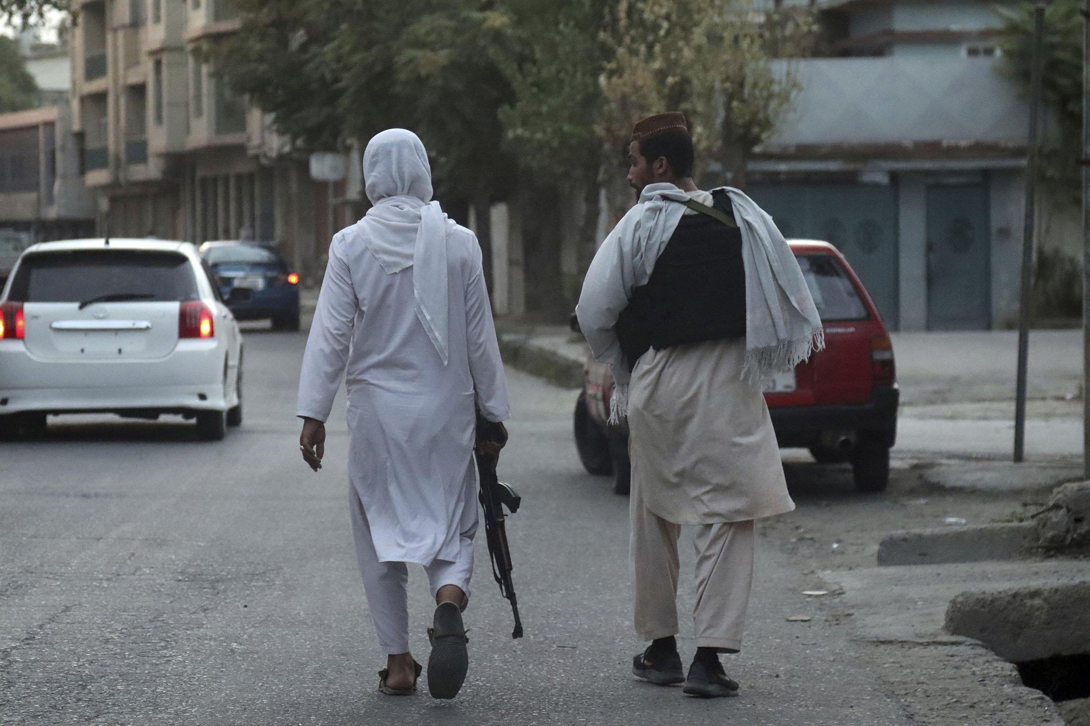 Taliban fighters patrol in Kabul, Afghanistan, Aug. 28, 2021. (AP Photo)