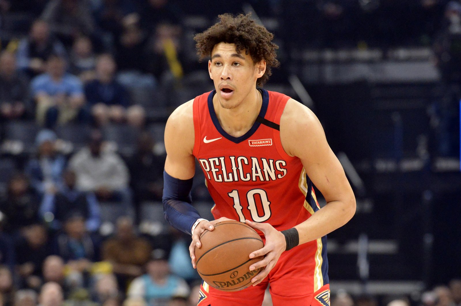 New Orleans Pelicans center Jaxson Hayes handles the ball in the first half of an NBA basketball game against the Memphis Grizzlies in Memphis, Tenn., U.S., Jan. 20, 2020, (AP File Photo)