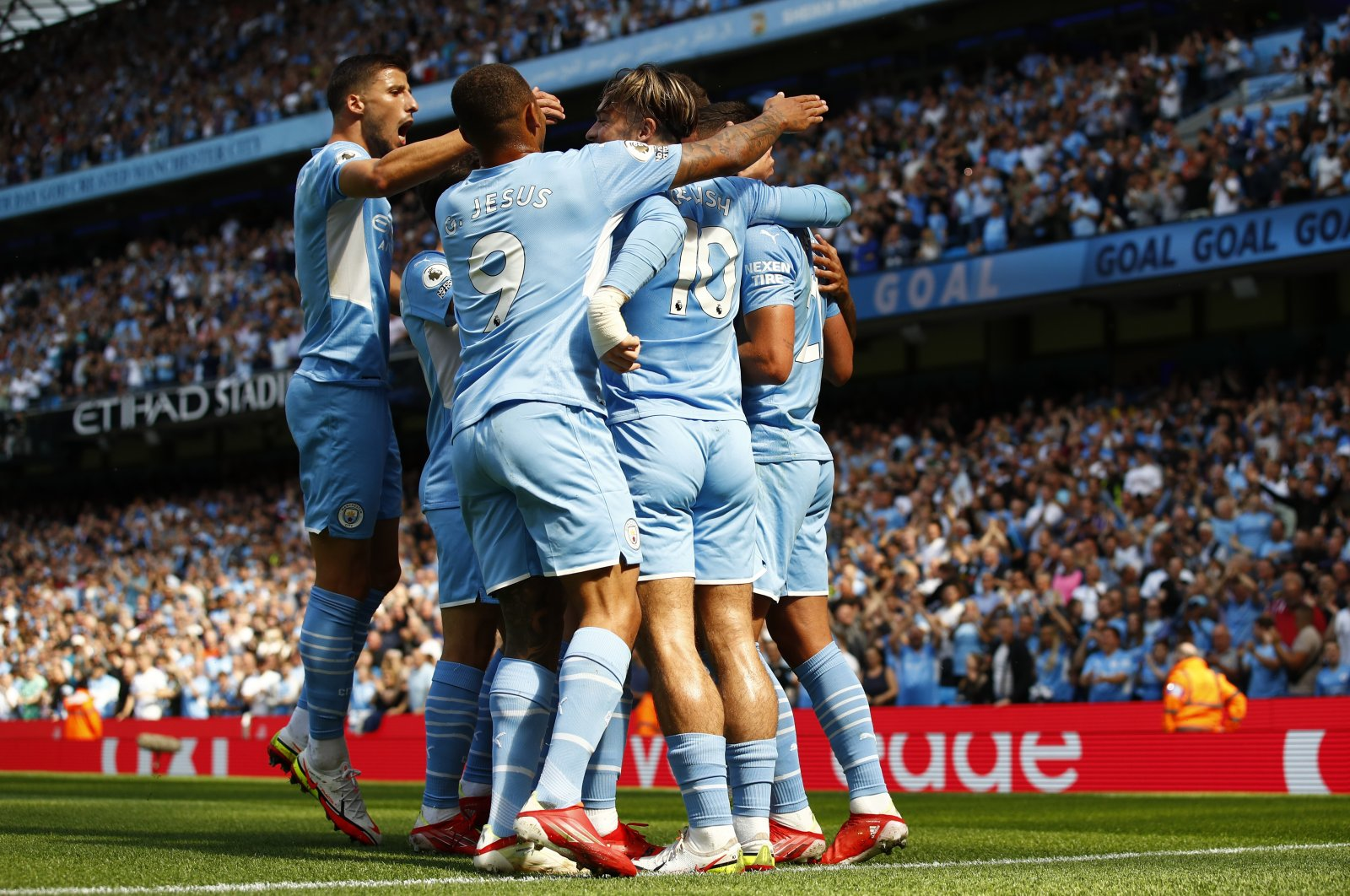 Manchester City's Ferran Torres celebrates after scoring his side's second goal during the English Premier League football match between Manchester City and Arsenal at Etihad stadium in Manchester, England, Aug. 28, 2021. (Reuters Photo)