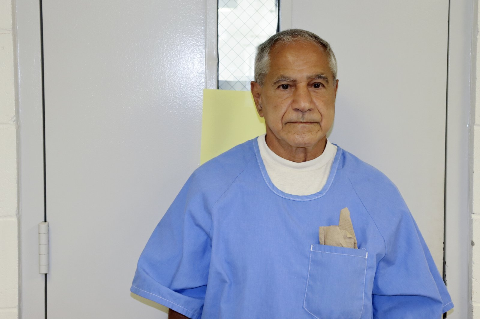 In this image provided by the California Department of Corrections and Rehabilitation, Sirhan Sirhan arrives for a parole hearing, San Diego, U.S., Aug. 27, 2021. (AP Photo)