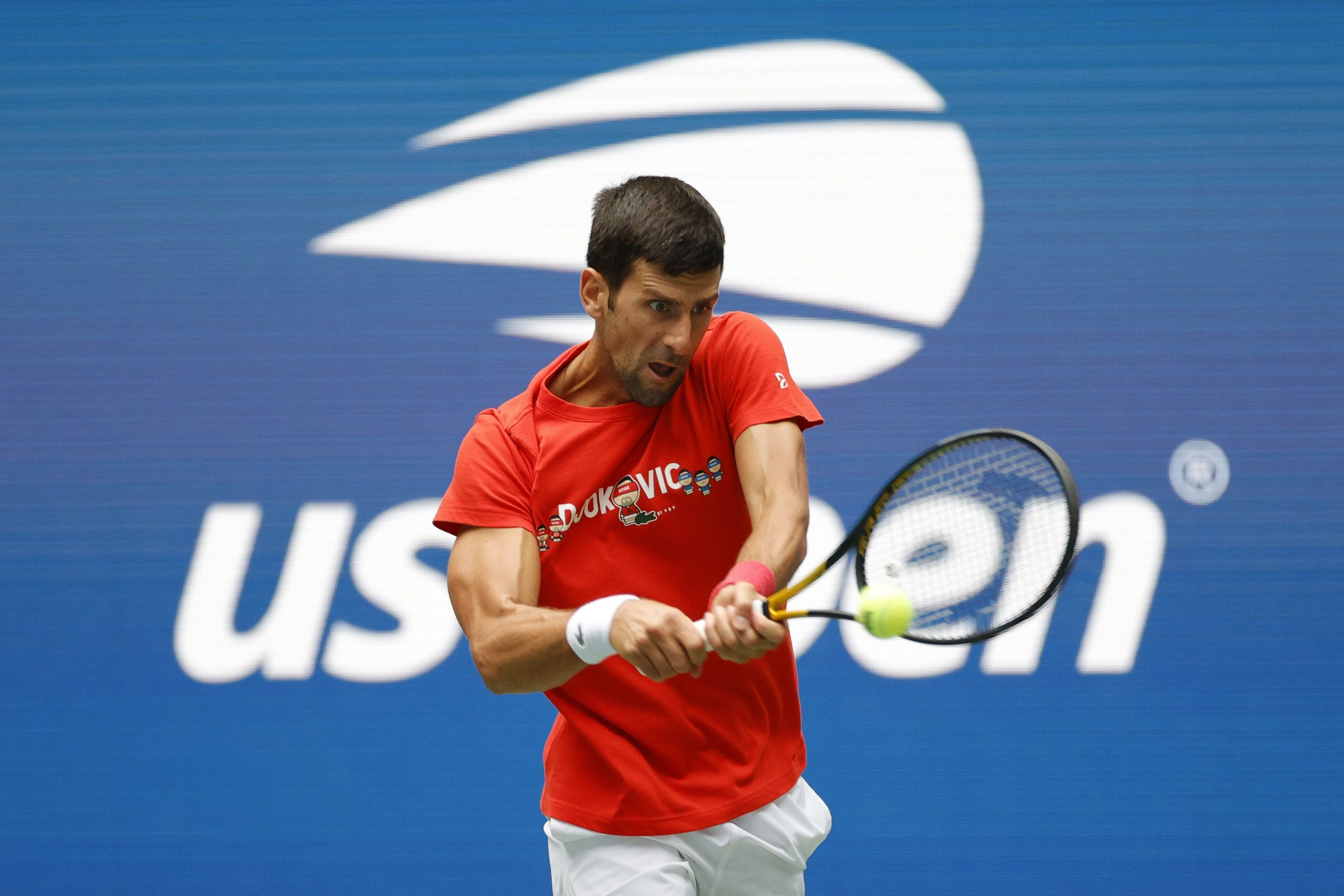 Serbia's Novak Djokovic returns the ball during a practice session ahead of the 2021 U.S. Open, New York, U.S., Aug. 28, 2021. (AFP Photo)