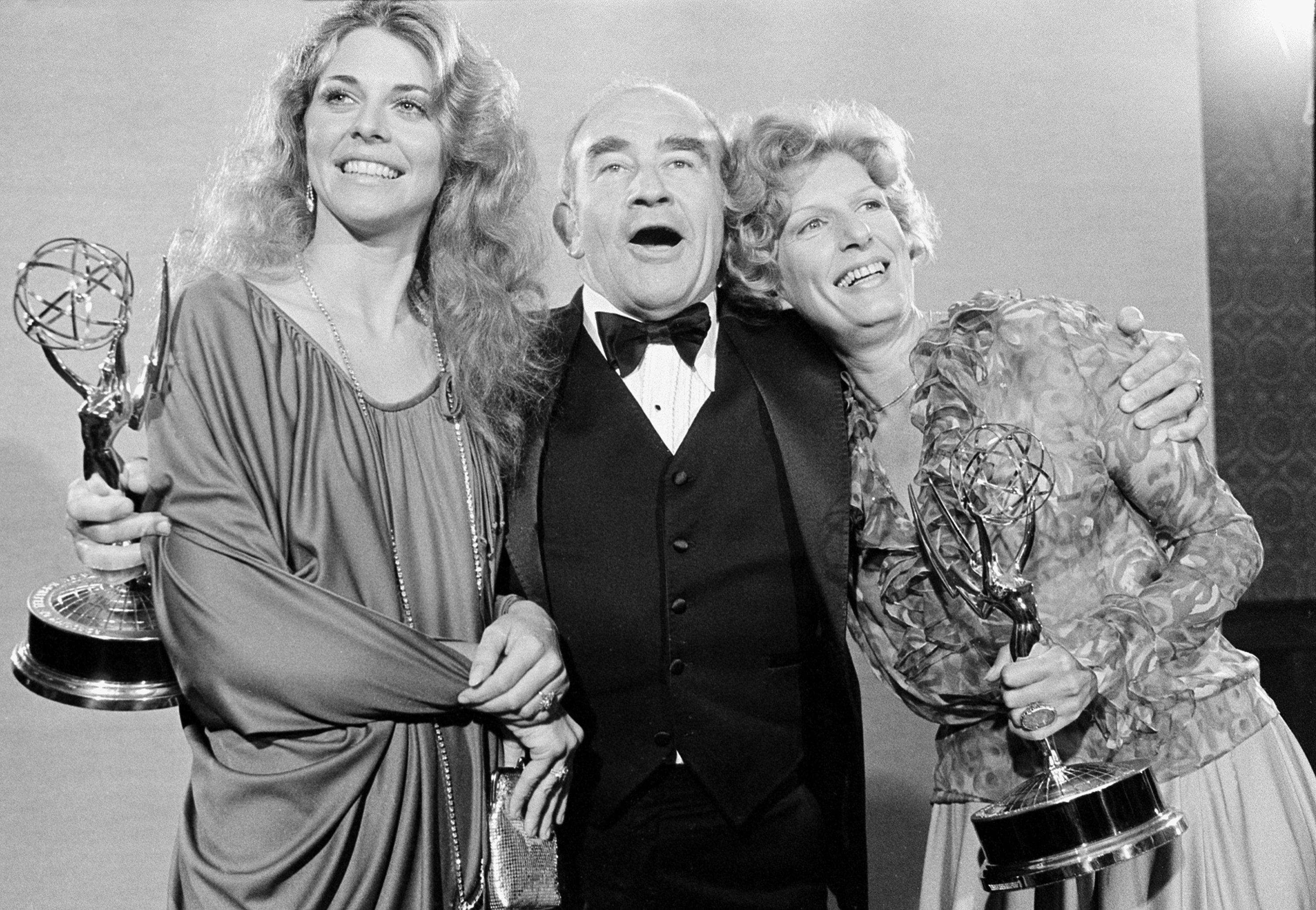 Lindsay Wagner, left, Ed Asner, center, and Nancy Marchand pose at the 30th annual Primetime Emmy Awards at the Pasadena Civic Auditorium, in Pasadena, California, U.S., Sept.17, 1978. (AP Photo)