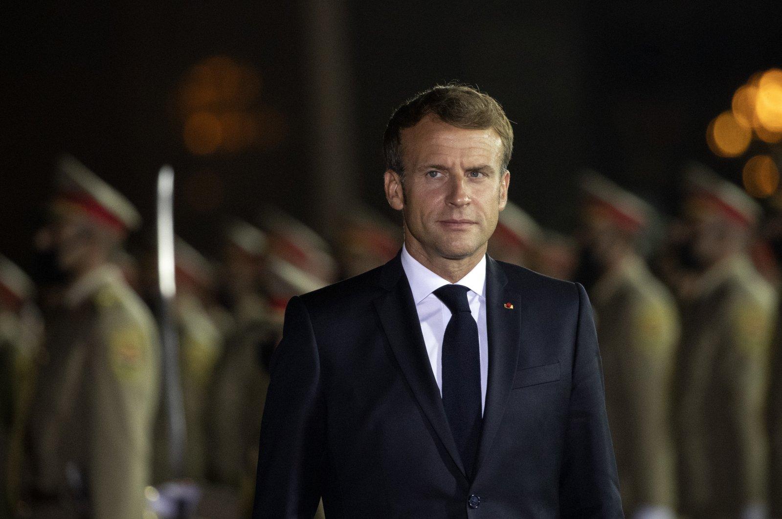 French President Emmanuel Macron arrives at Irbil international airport, Iraq, Aug. 29, 2021. (AP Photo)