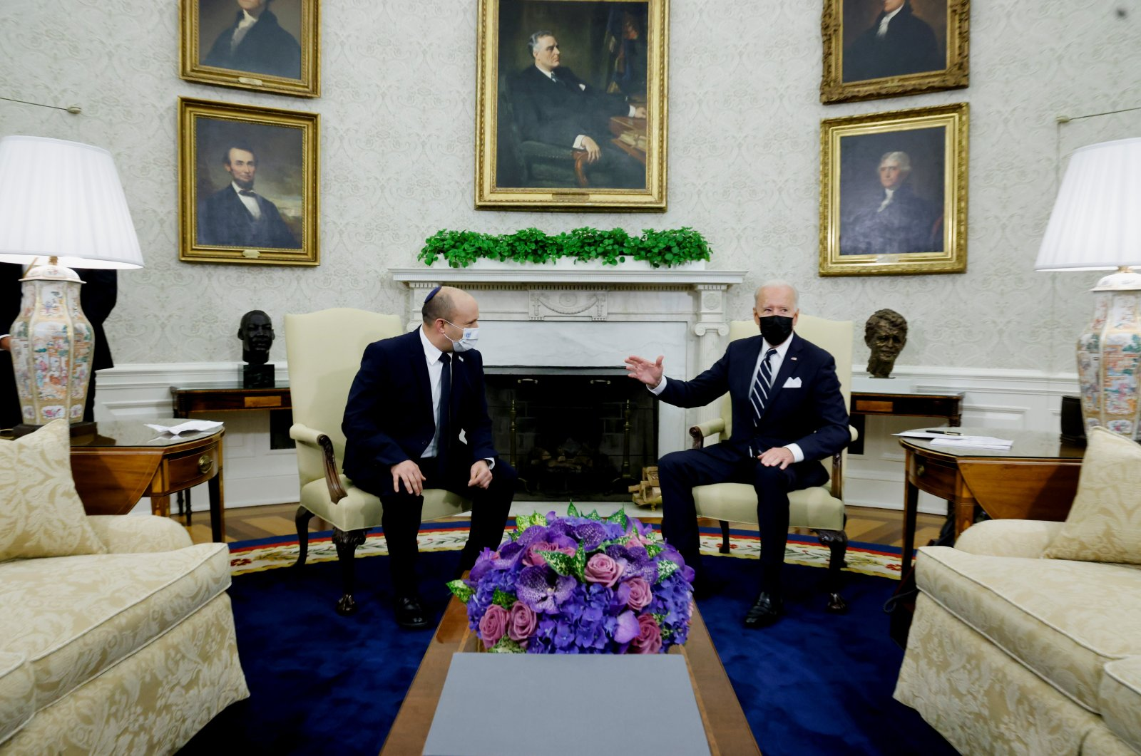 U.S. President Joe Biden and Israel's Prime Minister Naftali Bennett chat during a meeting in the Oval Office at the White House in Washington, D.C., U.S., Aug. 27, 2021. (Reuters Photo)