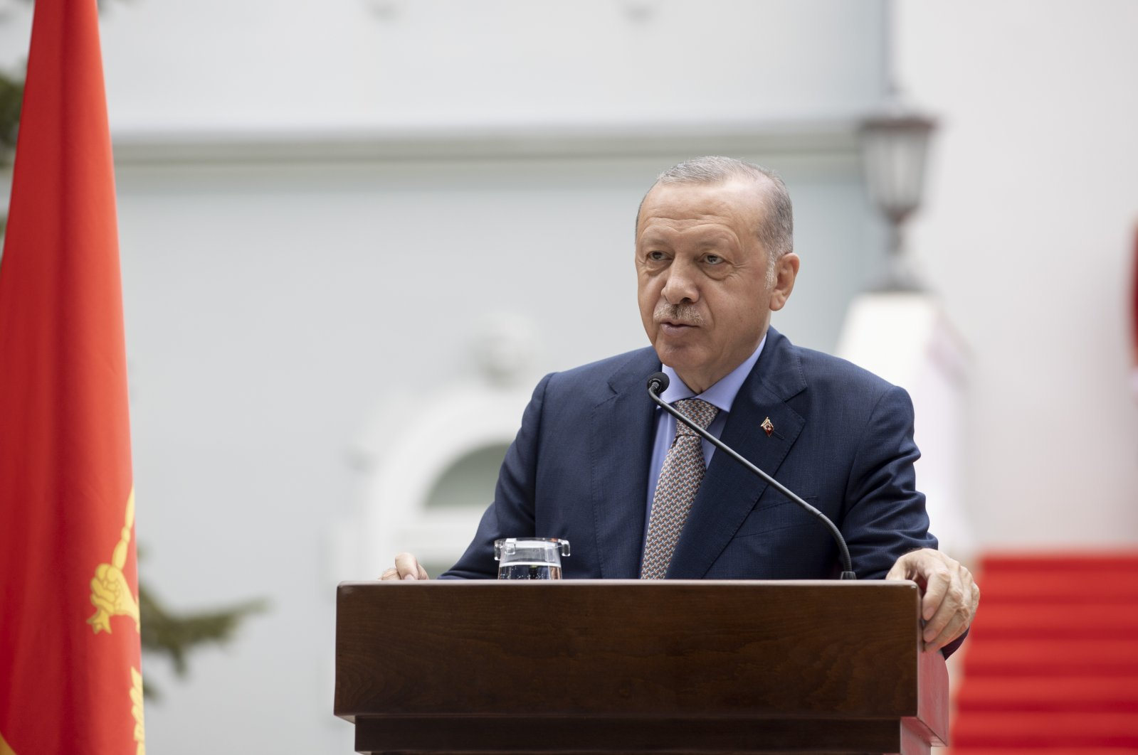 President Recep Tayyip Erdoğan speaking at a joint press conference with Montenegro's President Milo Cukanovic, Montenegro, Aug. 28, 2021 (AA Photo)