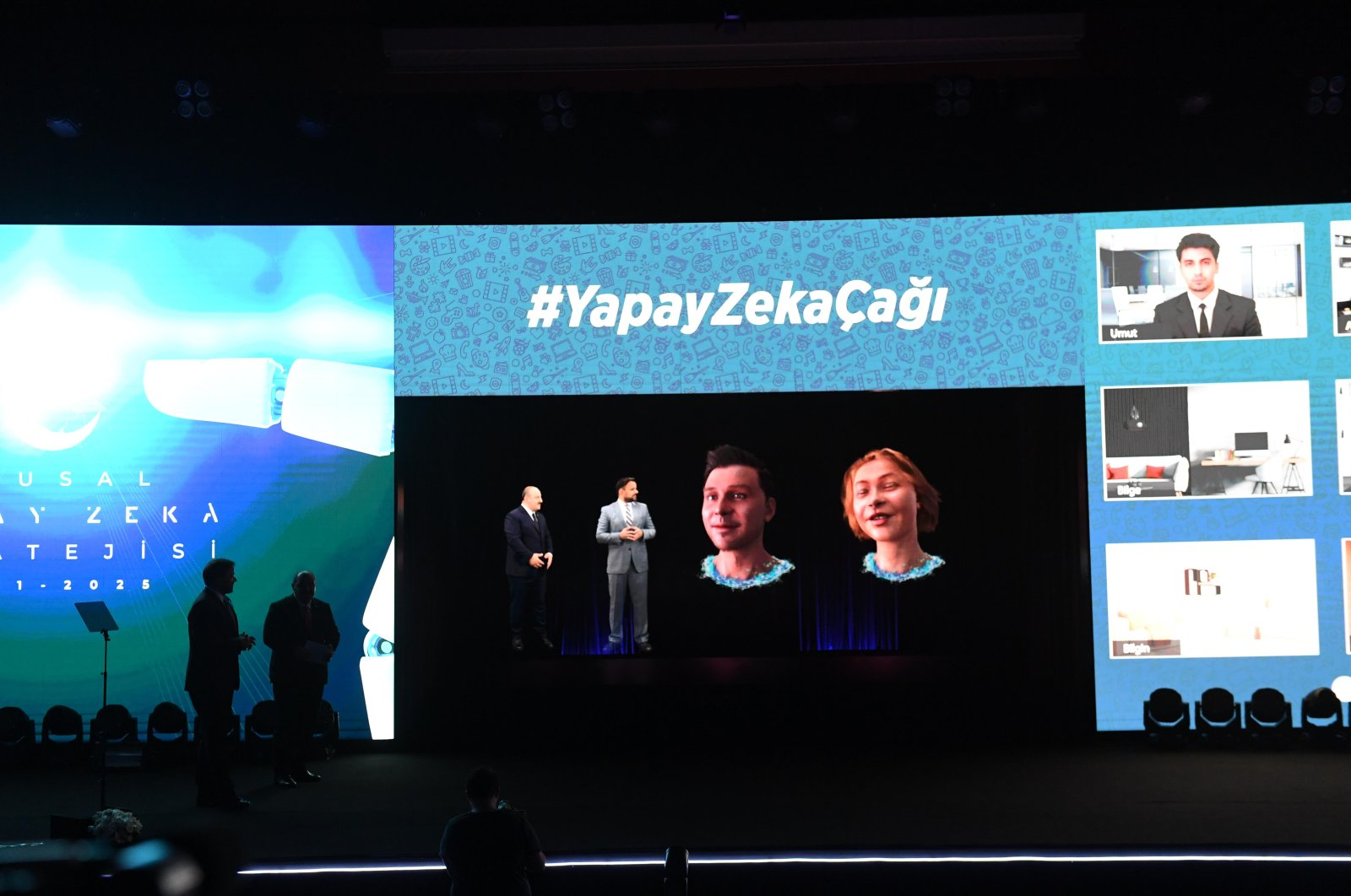 Industry and Technology Minister Mustafa Varank (R) and Ali Taha Koç, head of the presidency's Digital Transformation Office, are seen on the stage during the unveiling ceremony of national AI strategy, Kocaeli, Turkey, Aug. 24, 2021. (DHA Photo)
