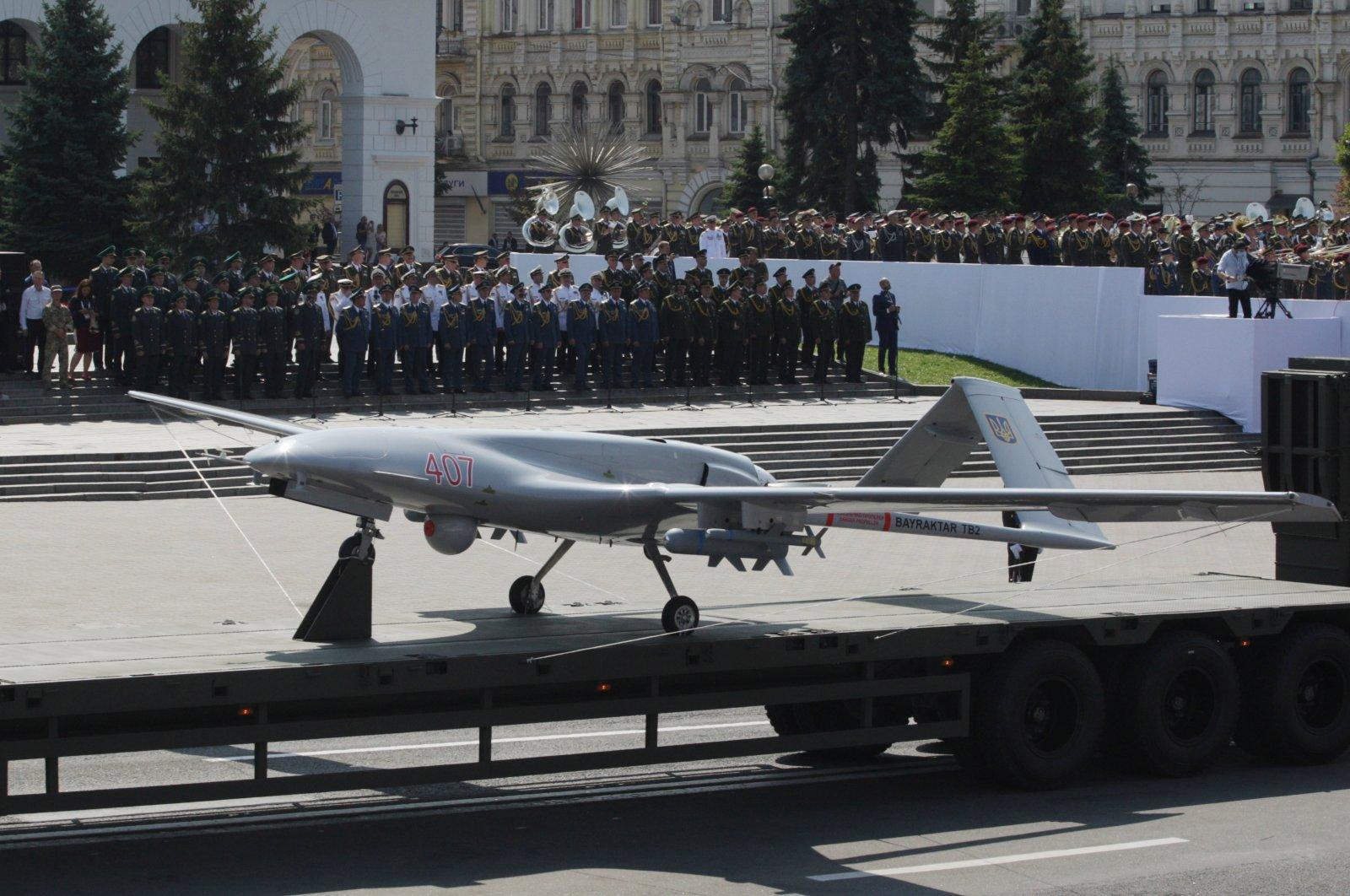 A Bayraktar TB2 UCAV belonging to the Ukrainian army, during a parade to commemorate the 30th anniversary of Ukraine's independence, Kyiv, Ukraine, Aug. 24, 2021. (AA Photo)
