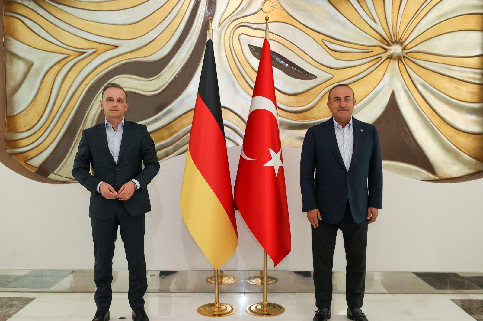 Foreign Minister Mevlüt Çavuşoğlu (right) with German Foreign Minister Heiko Maas in Antalya, Turkey, Aug. 29, 2021. (AA Photo)