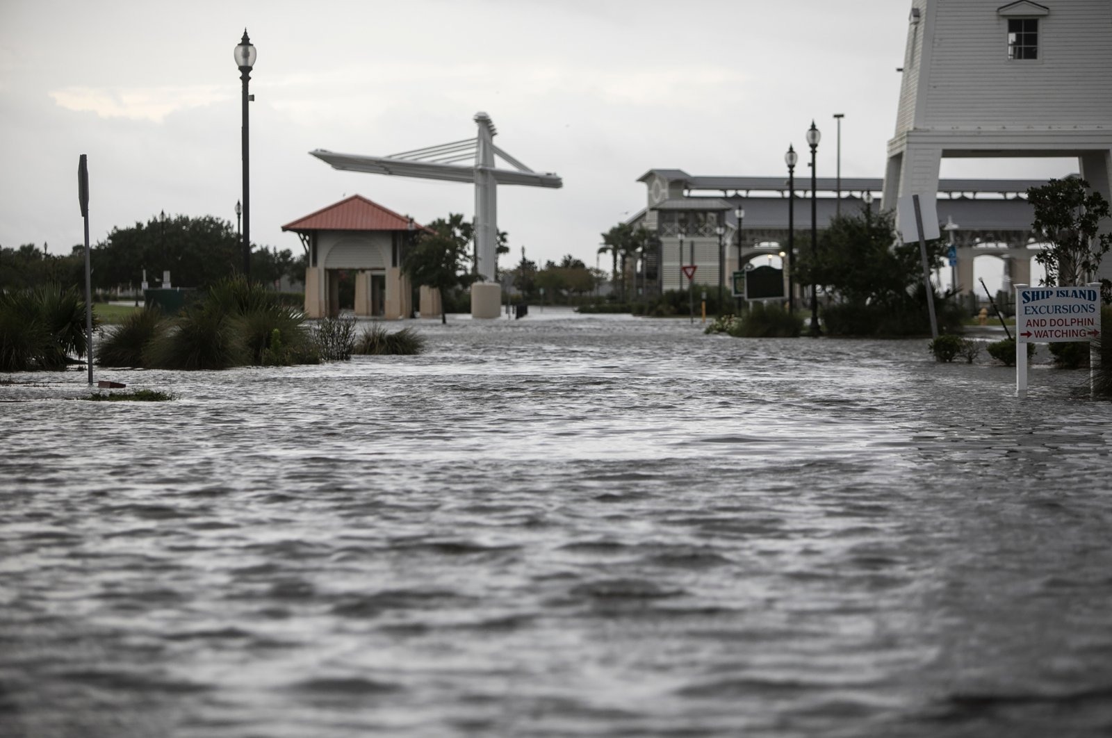 Jones Park in Gulfport, Miss., is flooded early Sunday, Aug. 29, 2021, from Hurricane Ida's storm surge ahead of the storm's landfall. (Justin Mitchell/The Sun Herald via AP)