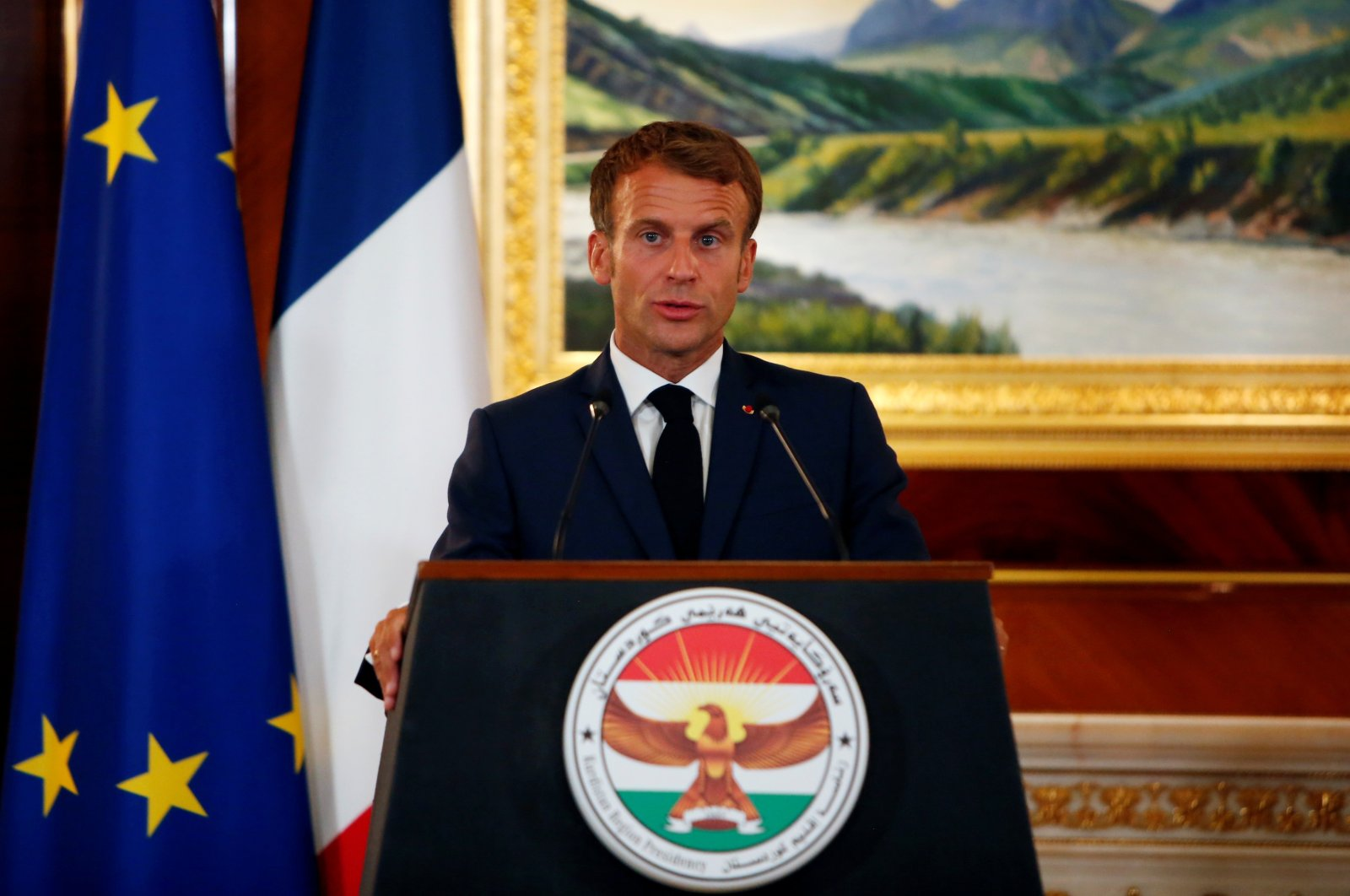 French President Emmanuel Macron speaks during a news conference with KRG president Nechirvan Barzani, in Irbil, Iraq, Aug. 29, 2021. (Reuters Photo)