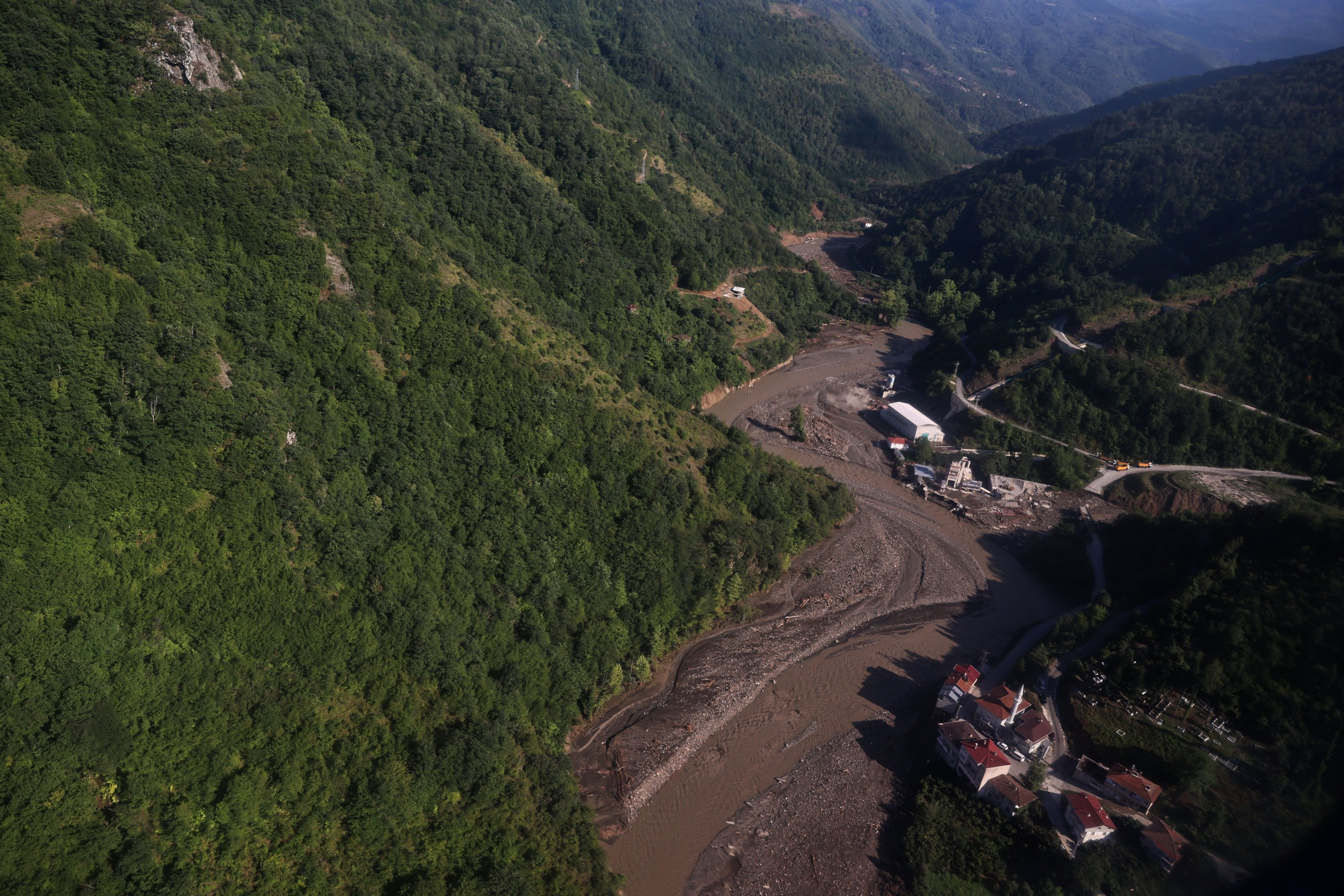 The Ezine Stream and the hydroelectric power plant as viewed from the air, Bozkurt district, Kastamonu, Turkey,  Aug. 14, 2021. (AA Photo)