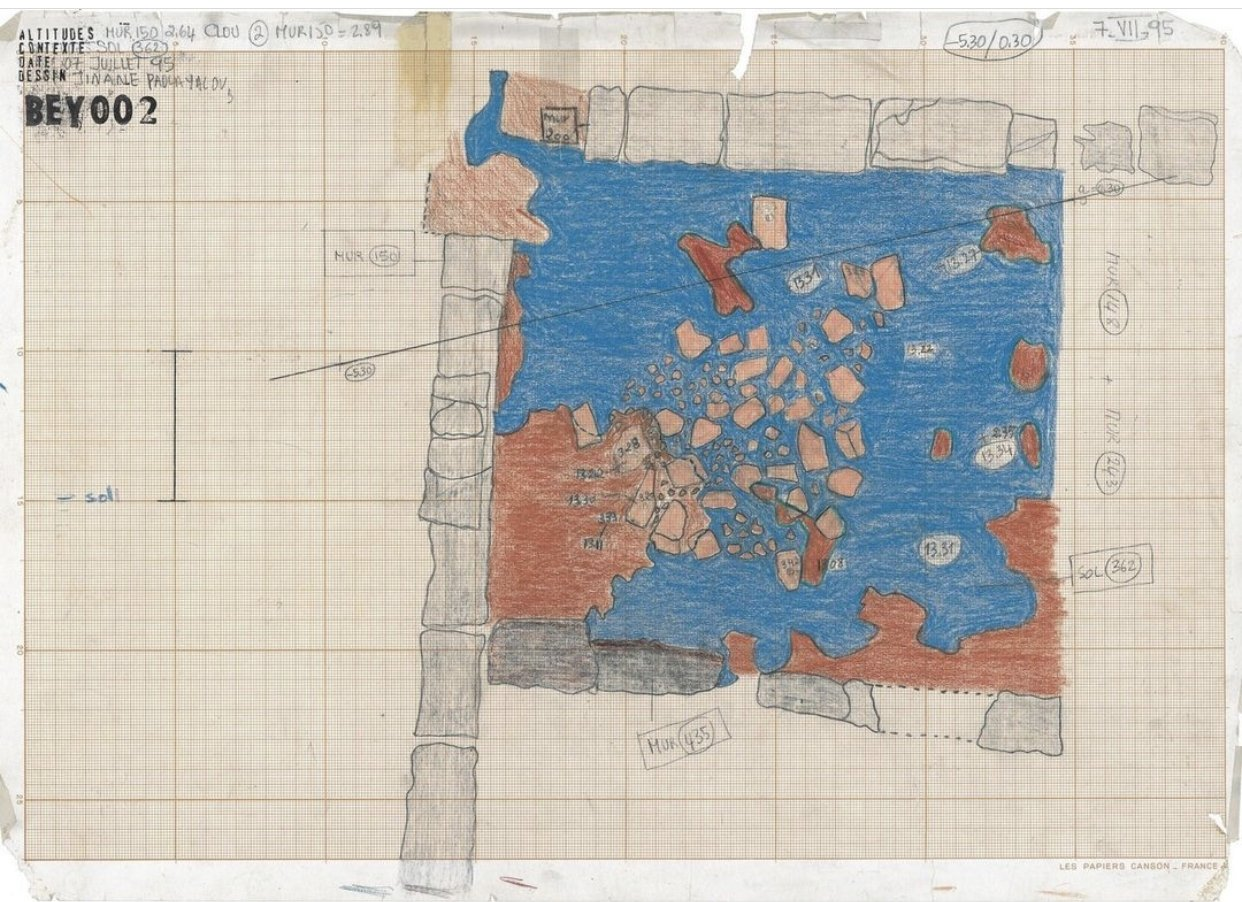 A drawing of the Institut Français d'Archeologie du Proche-Orient (IFPO) BEY 002 excavation site in 'BEY 002.' (Photo by Matt Hanson)