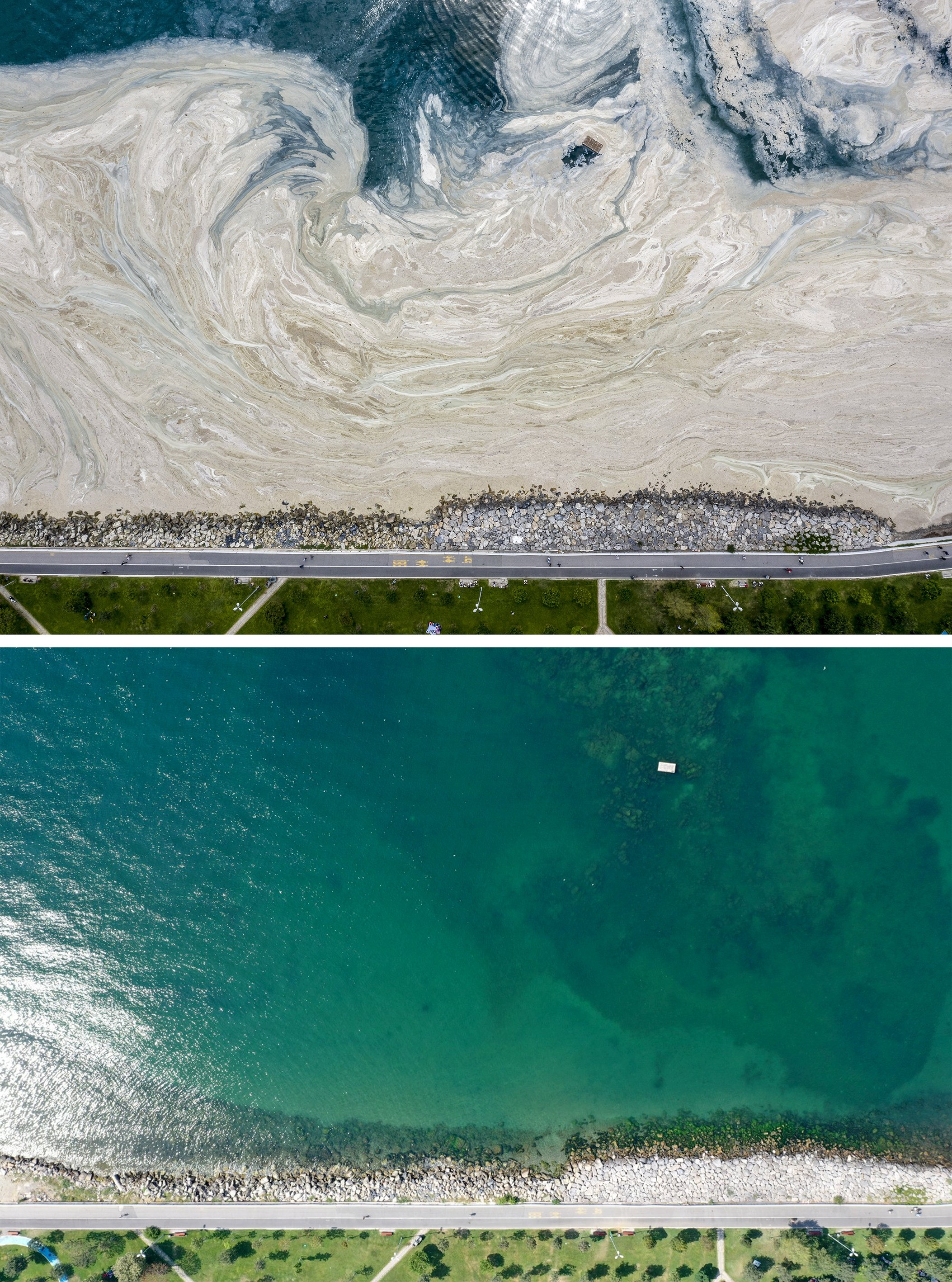 Aerial view of sea covered with mucilage in Istanbul, Turkey, June 7, 2021 (above) and on Aug. 29, 2021. (AA Photo)