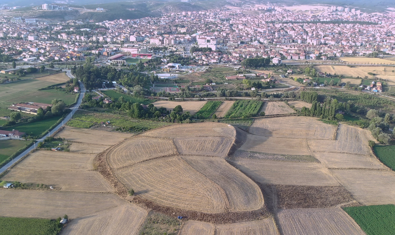 An aerial view from the Tavşanlı Mound, Kütahya, central Turkey, Aug. 28, 2021. (AA Photo)