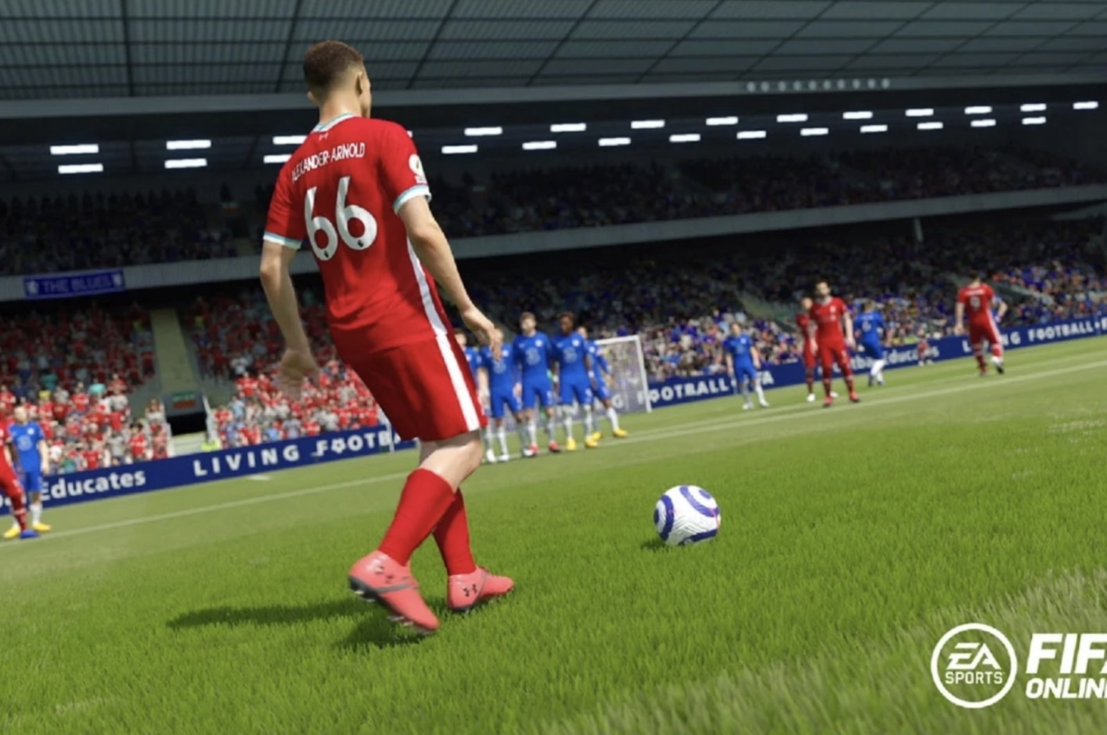 Liverpool's Trent Alexander-Arnold is seen behind the ball before a free kick during FIFA Online 4 gameplay (Credit: EA Sports)
