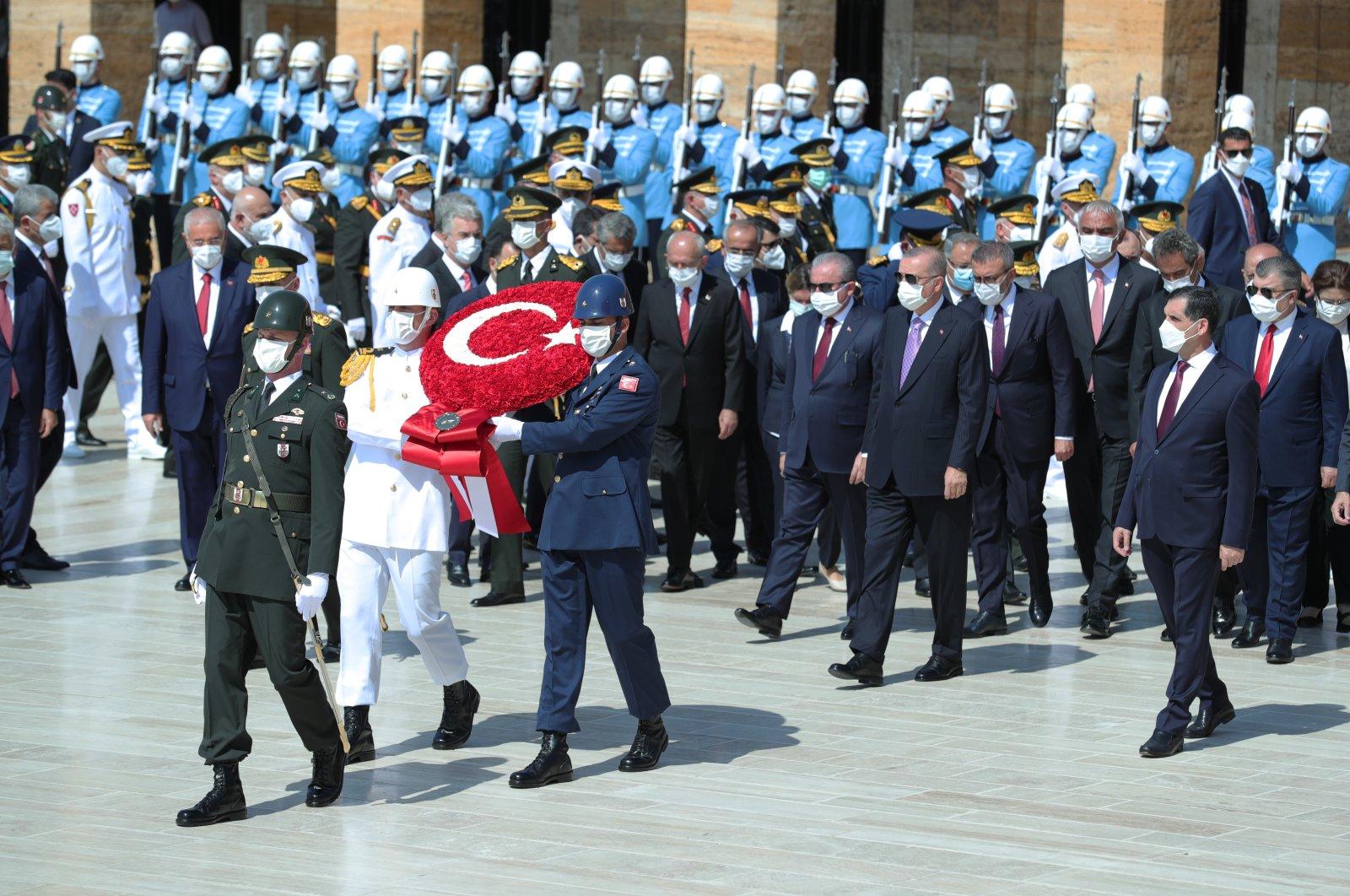 President Recep Tayyip Erdoğan attends Victory Day ceremonies at Ataturk's Mausoleum, in Ankara, Turkey, Aug. 30, 2021. (AA Photo)