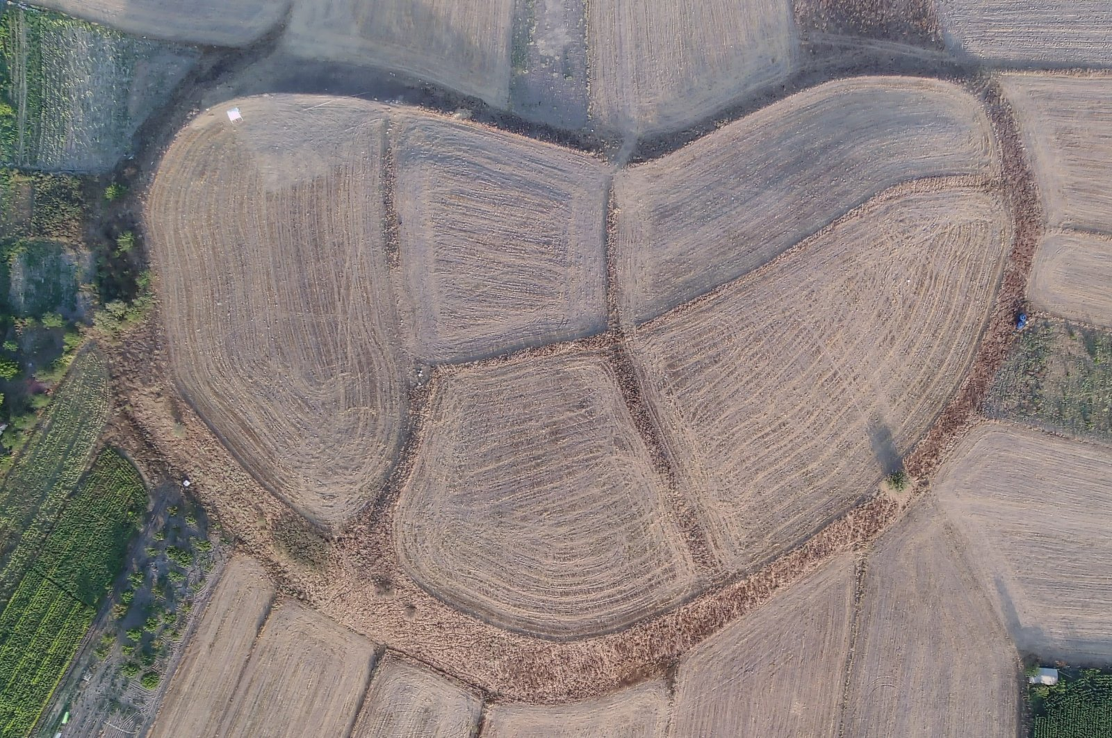 An aerial view of the Tavşanlı Mound, Kütahya, central Turkey, Aug. 28, 2021. (AA Photo)