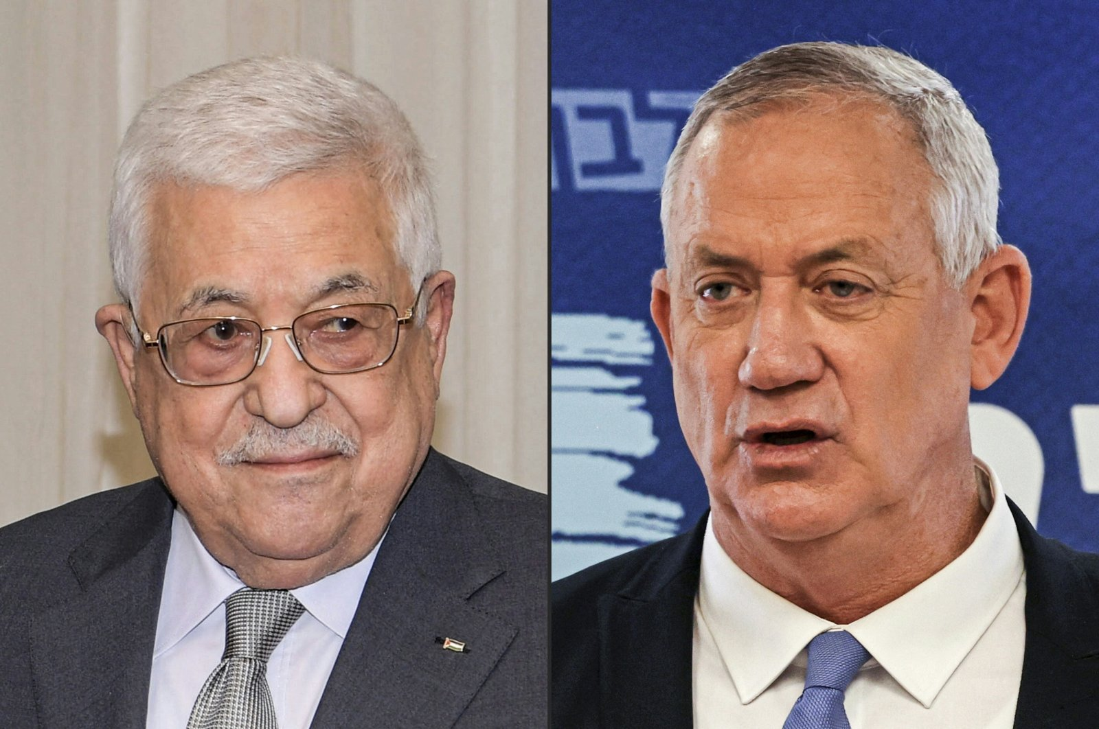 This combination of pictures created on Aug. 30, 2021, shows (L to R) Palestinian president Mahmud Abbas during a diplomatic meeting in Ramallah in a handout photo provided by the Palestinian Authority's press office (PPO) on Aug. 1, 2021, and Israeli Defence Minister Benny Gantz giving a press conference at his party's office in the Knesset in Jerusalem on June 7, 2021. (Photos by Thaer GHANAIM and Menahem KAHANA / AFP Photo / HO / PPO )