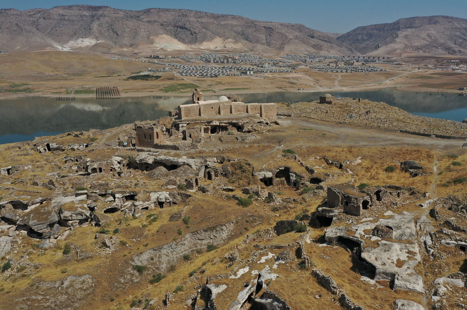 The remains of the Hasankeyf Castle in Batman, Turkey, Aug. 30, 2021. (AA Photo)