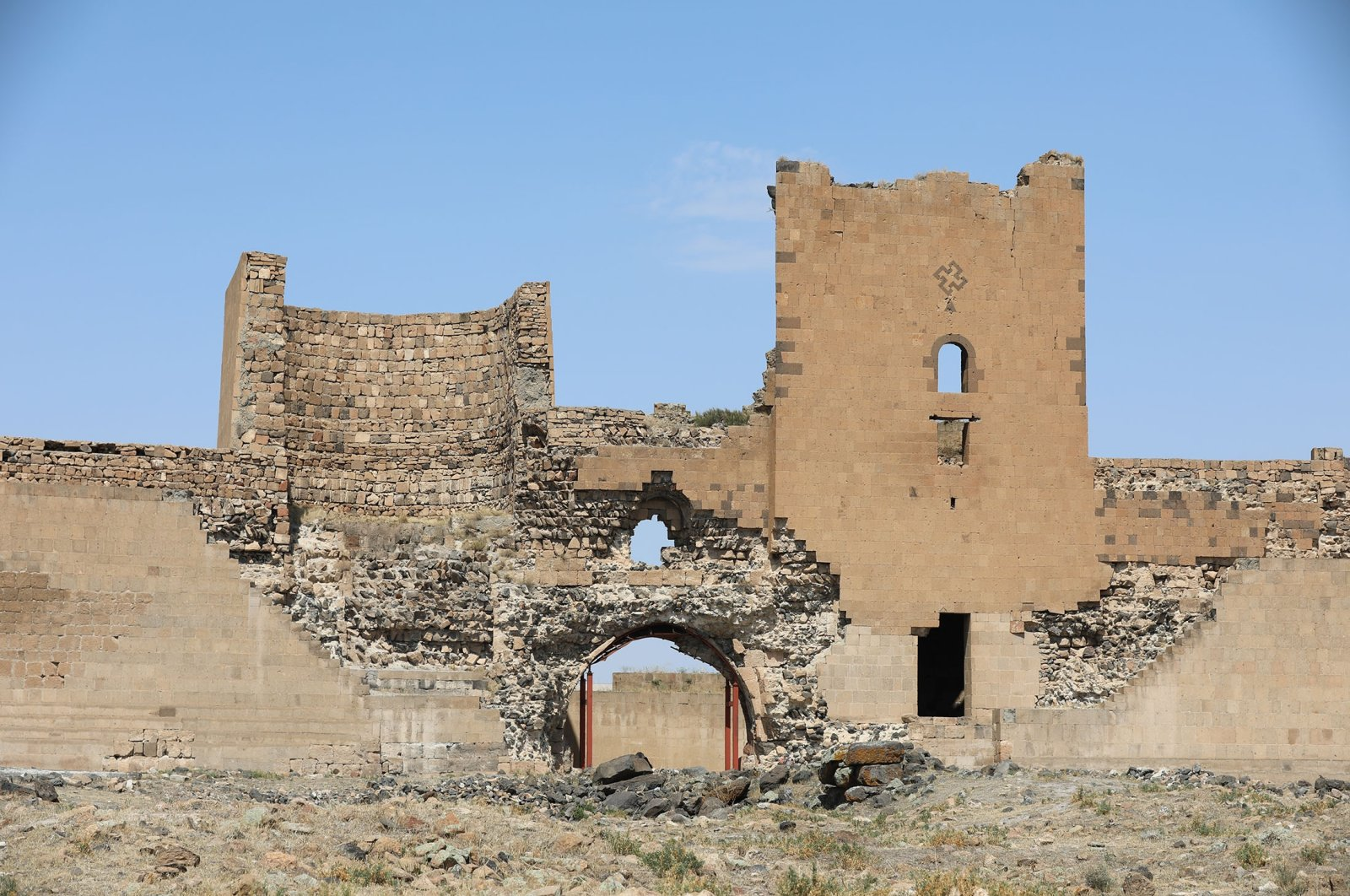 The remains of the city gate at the AniRuins in Kars, Turkey, Aug. 30, 2021. (AA Photo)