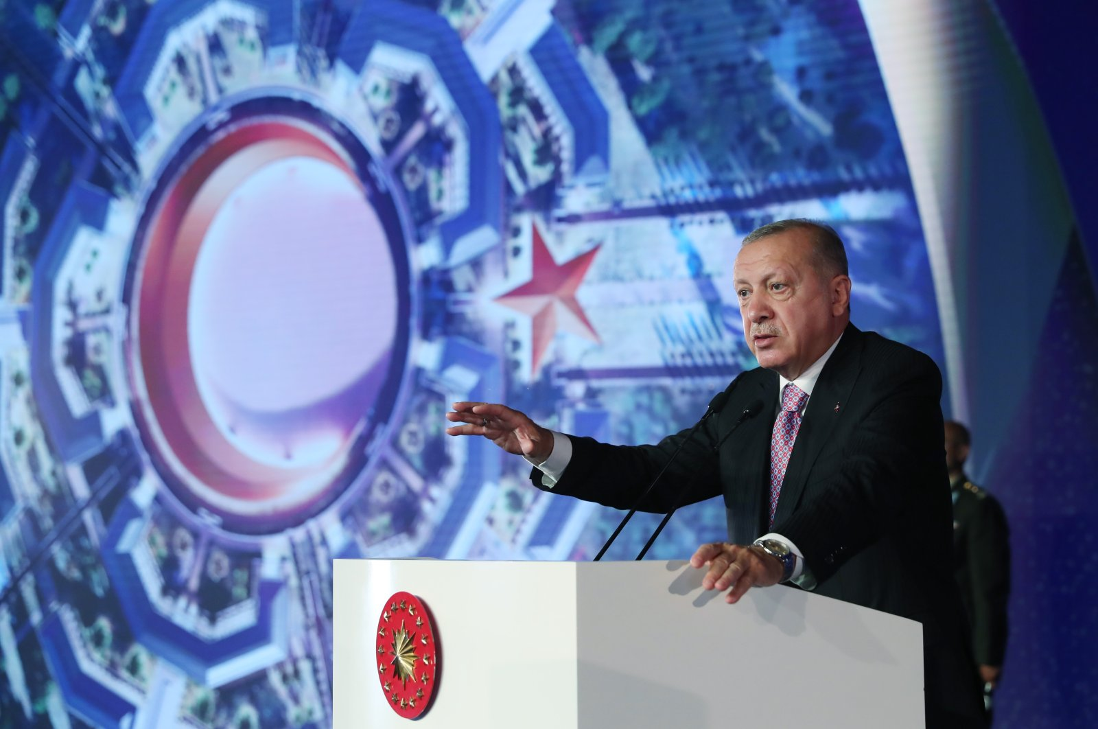 """President Recep Tayyip Erdoğan speaks at the ground-breaking ceremony for the """"Crescent Star"""" project, in the capital Ankara, Turkey, Aug. 30, 2021. (AA PHOTO)"""