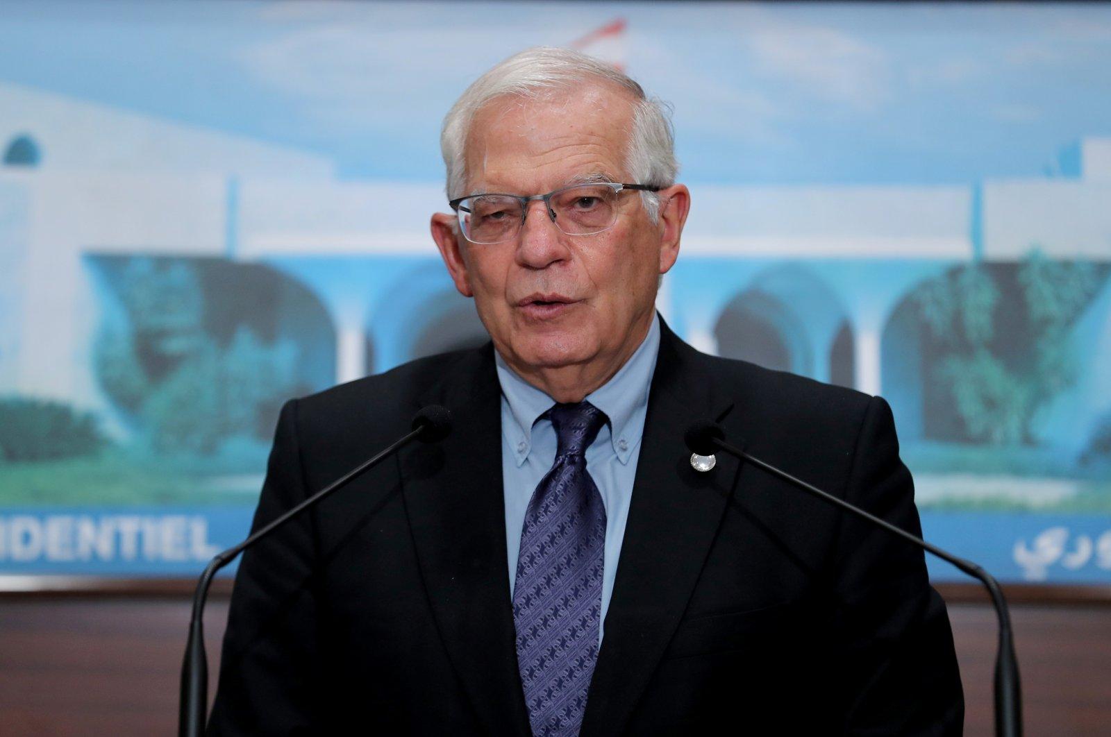 European Union foreign policy chief Josep Borrell speaks at the presidential palace in Baabda, Lebanon, June 19, 2021. (Dalati Nohra / Handout via Reuters)