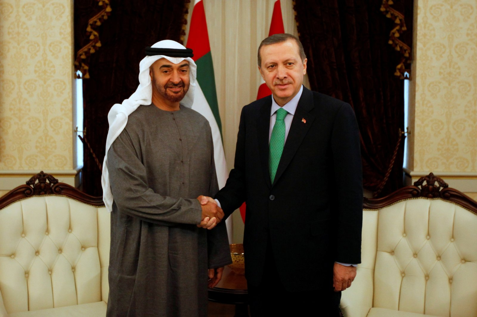 Abu Dhabi's Sheikh Mohammed bin Zayed Al Nahyan (L) shakes hands with then-Prime Minister Recep Tayyip Erdoğan before a meeting in Ankara, Turkey, Feb. 28, 2012. (Reuters Photo)