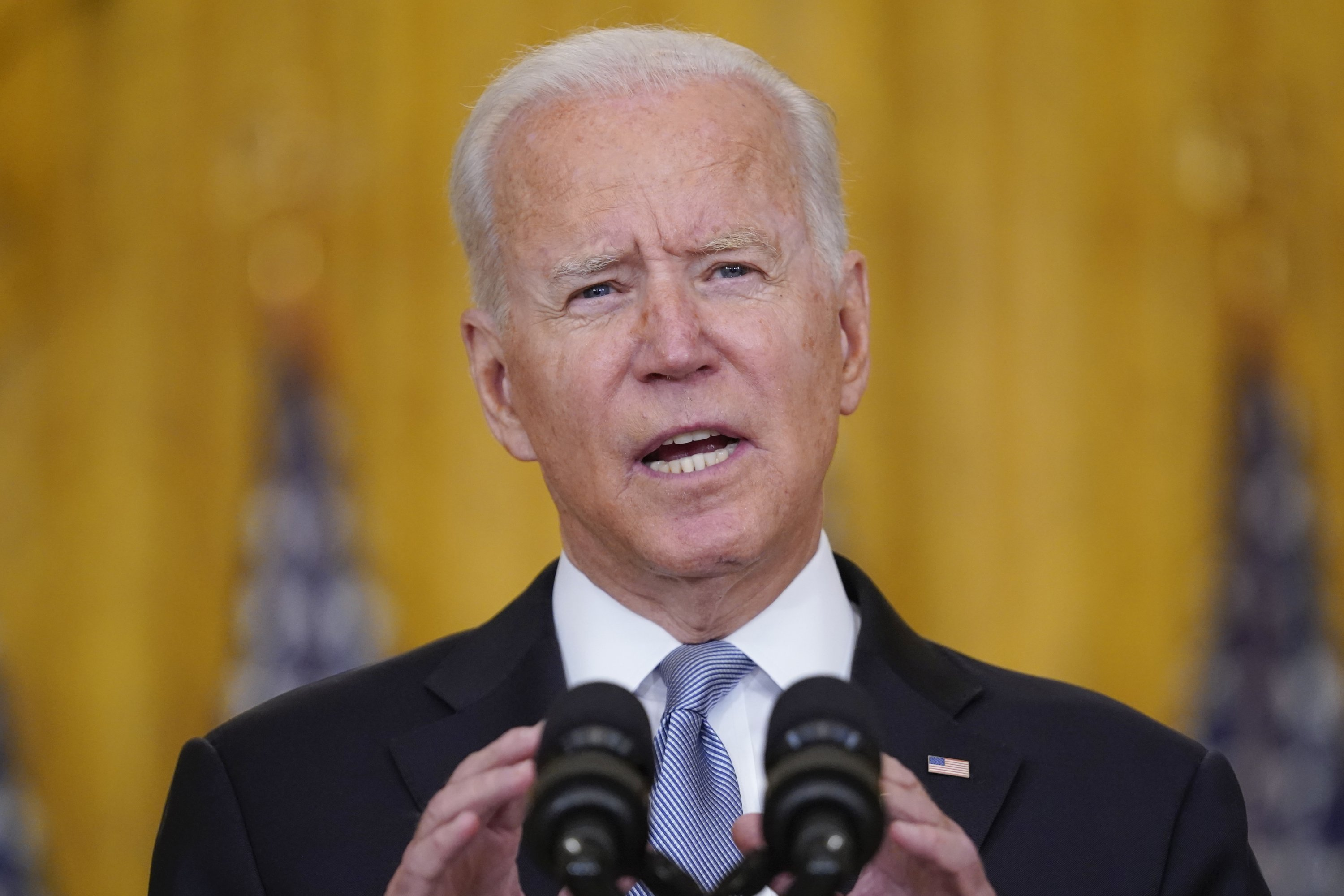 President Joe Biden speaks about Afghanistan from the East Room of the White House, Washington D.C., U.S., Aug. 16, 2021. (AP Photo)