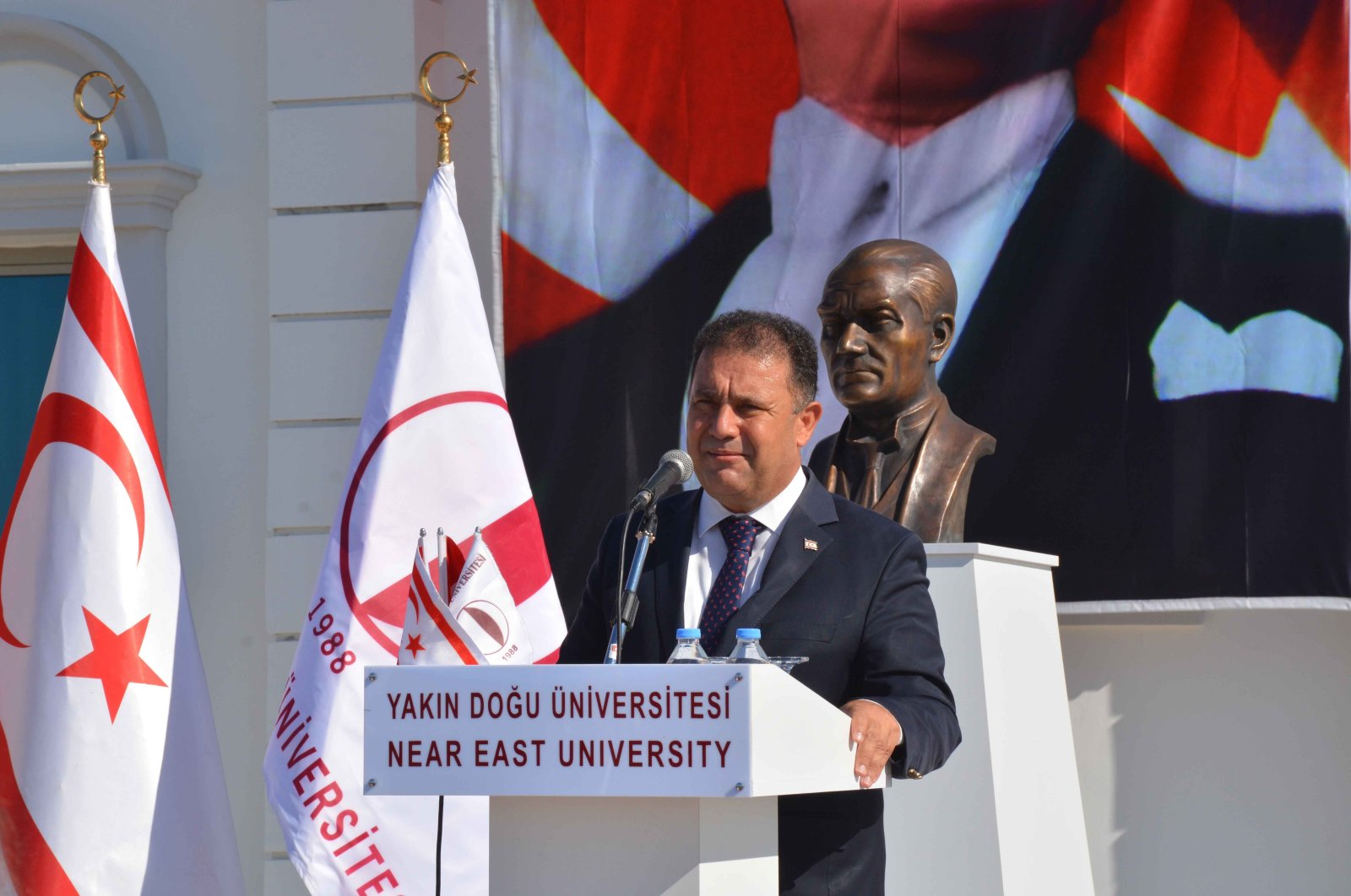 TRNC Prime Minister Ersan Saner attends the inauguration ceremony of Dr. Suat Günsel Elementary School, an affiliate of the Near East University, in Lefkoşa (Nicosia), TRNC, Aug. 27, 2021. (IHA Photo)