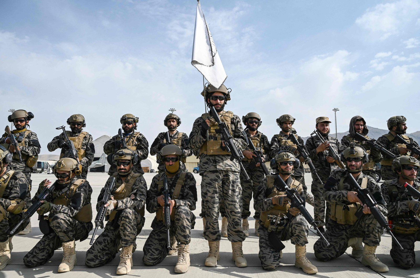 Taliban Badri special force fighters take a position at the airport in Kabul on Aug. 31, 2021, after the U.S. pulled all its troops out of the country to end a brutal 20-year war. (AFP Photo)