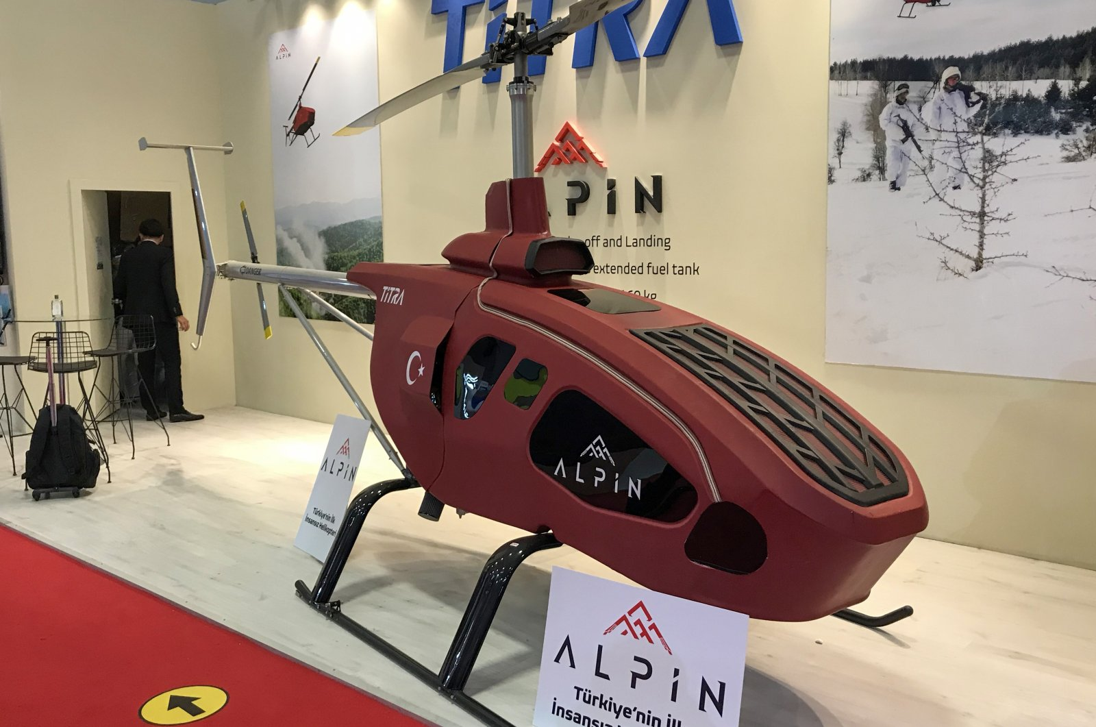 Titra Technology's Alpin unmanned mini helicopter on display during the IDEF 2021 held between Aug. 17-20, Istanbul, Turkey. (AA Photo)