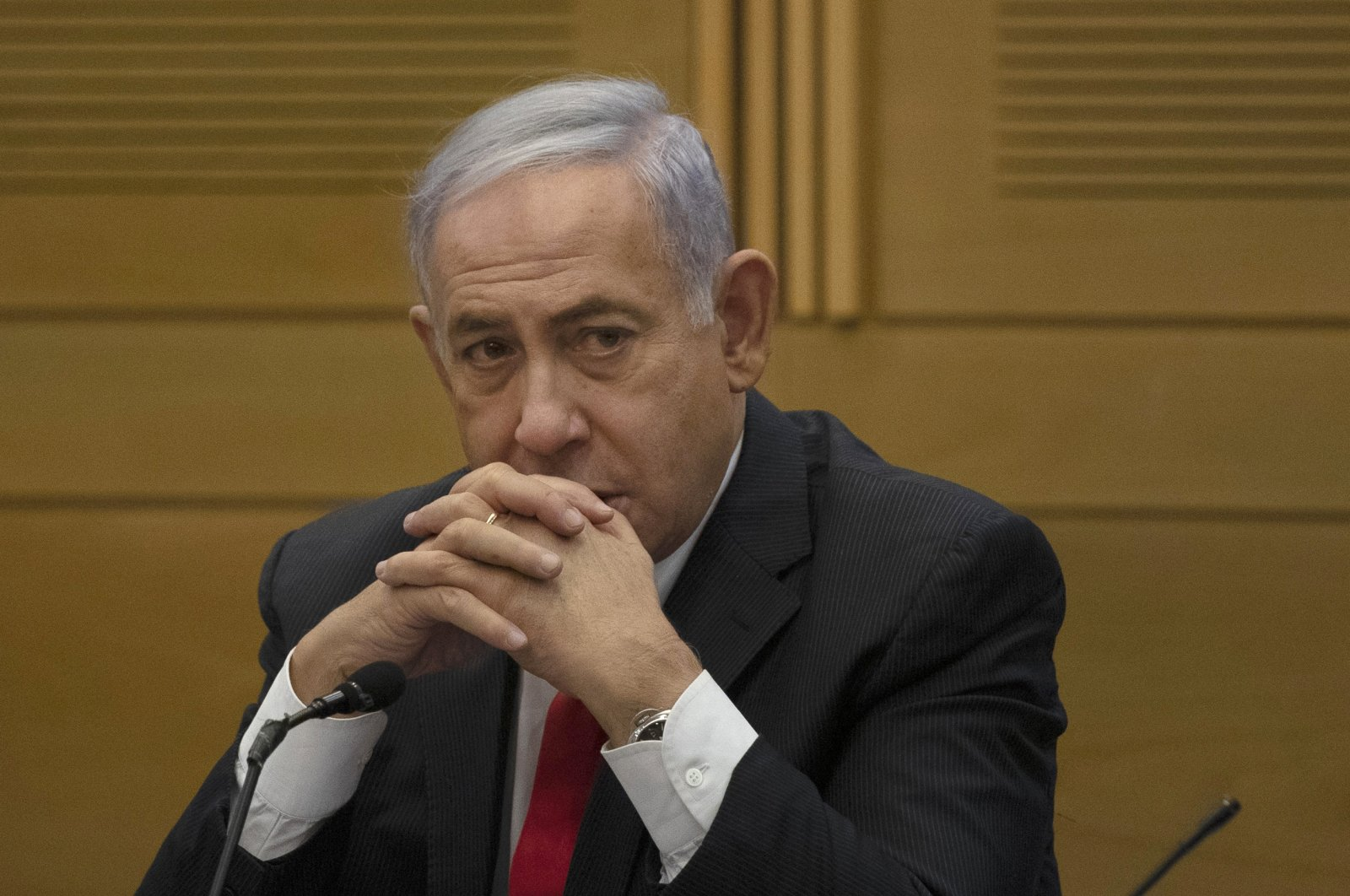 Former Israeli Prime Minister Benjamin Netanyahu speaks to right-wing opposition party members, at the Knesset, Israel's parliament, in Jerusalem, June 14, 2021. (AP Photo)