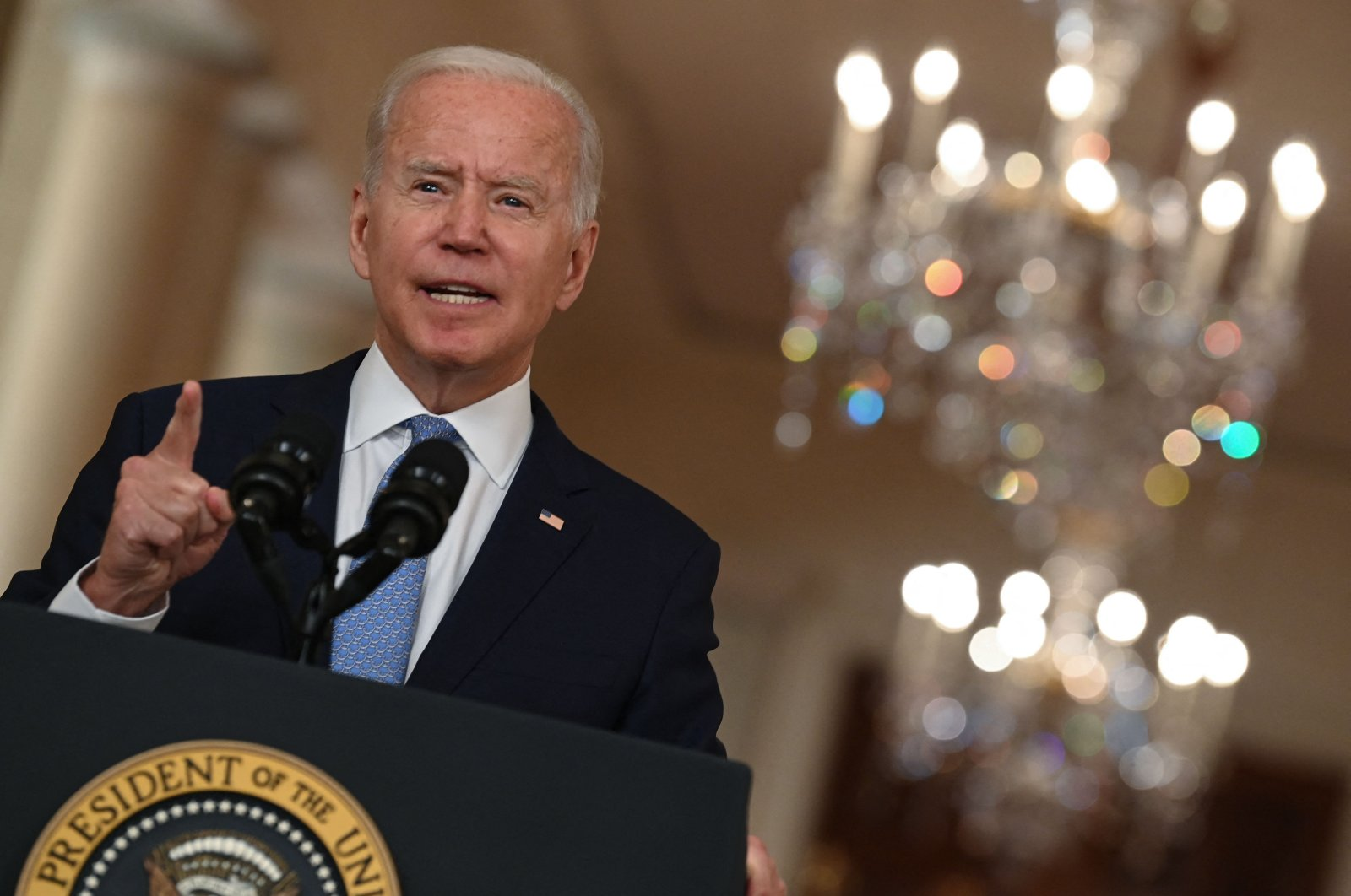 US President Joe Biden speaks on ending the war in Afghanistan in the State Dining Room at the White House in Washington, DC, on August 31, 2021. (AFP Photo)