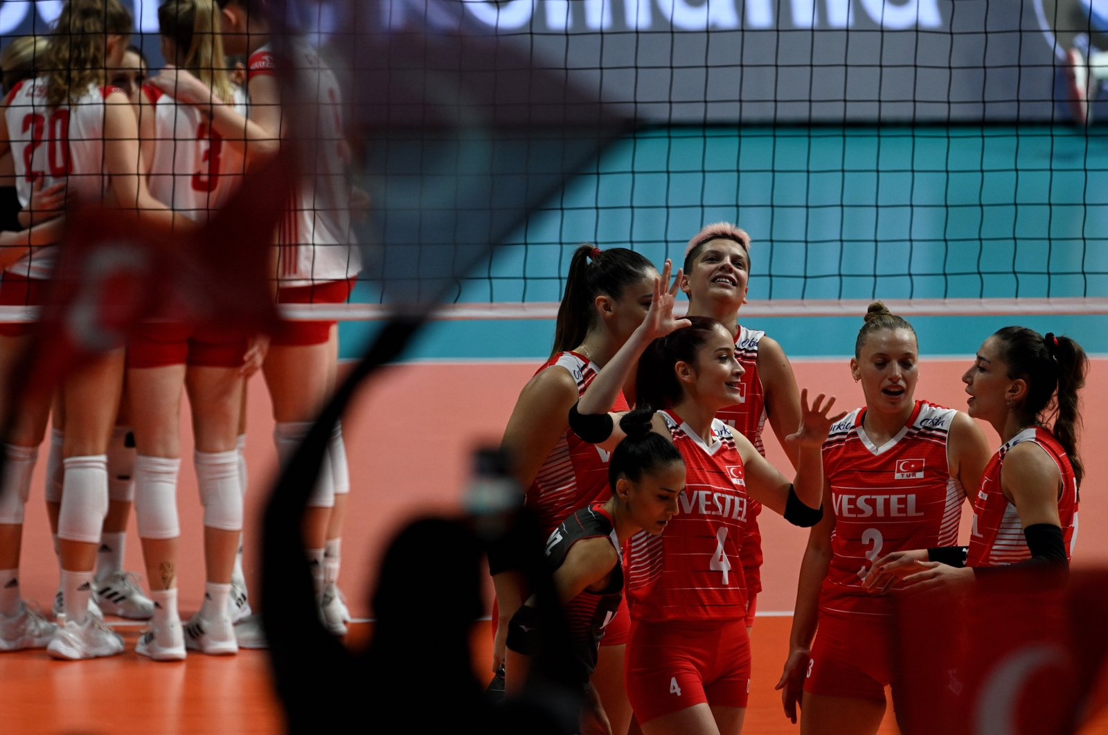 Turkey women's volleyball players react during their EuroVolley 2021 Women's championship quarterfinal against Poland in Plovdiv, Bulgaria, Aug. 31, 2021. (EPA Photo)