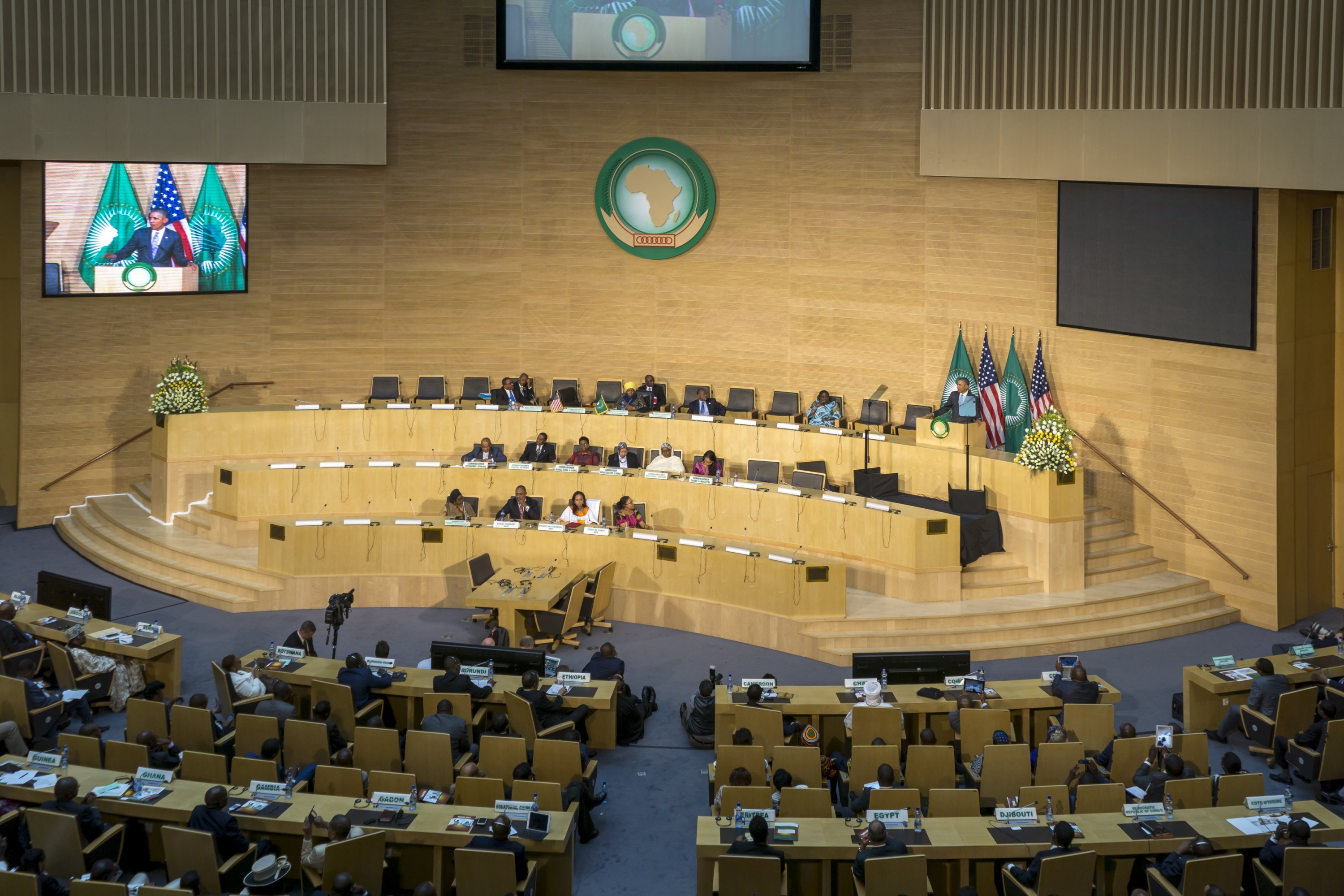 Former U.S. President Obama delivers a keynote speech to the African continent and its leaders at the Nelson Mandela Hall of the African Union in Addis Ababa, Ethiopia on July 28, 2015. (Shutterstock Photo)