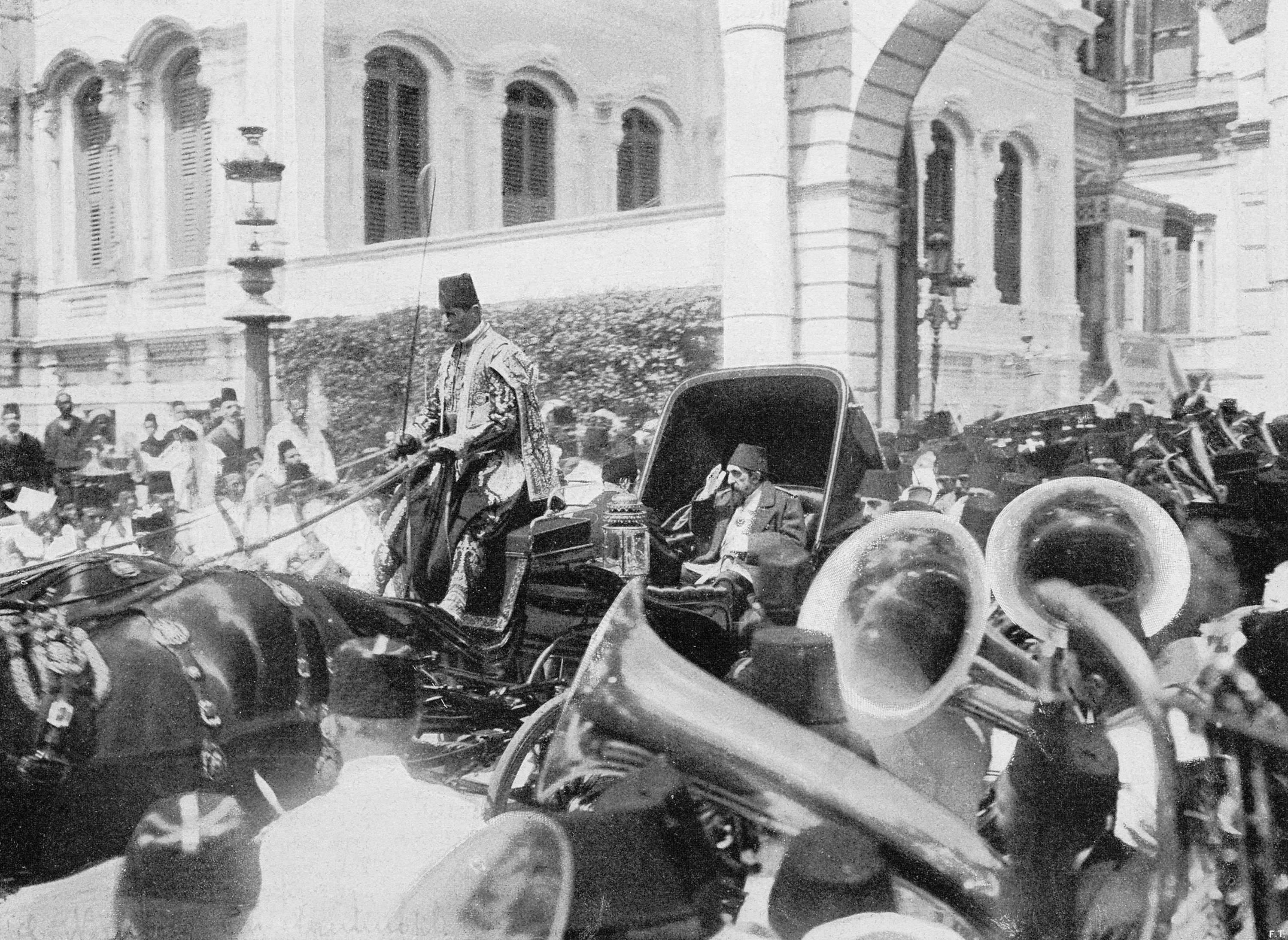 Ottoman Sultan Abdulhamid II in a carriage passing through the crowd on the streets of Istanbul, Turkey, Aug. 23, 1908. (Getty Images)