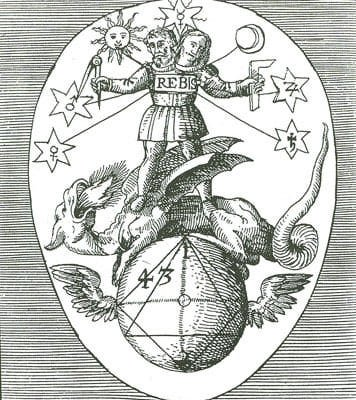 Rebis from Theoria Philosophiae Hermeticae (1617) by Heinrich Nollius, the unity of two sexes in one body, the Magnum Opus of Hermetics. (WikiMedia Commons)