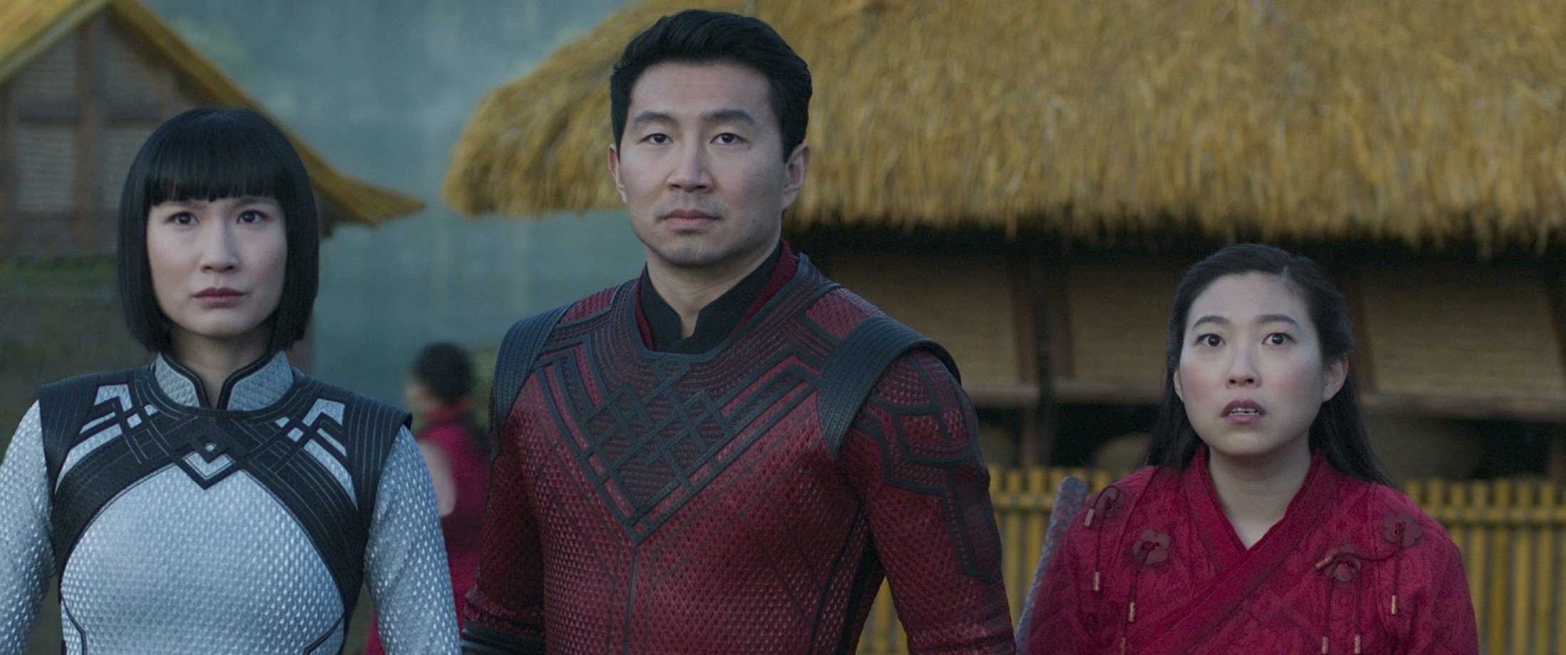 """Meng'er Zhang (L),Simu Liu (C) andAwkwafina, in a scene from the film """"Shang-Chi and the Legend of the Ten Rings."""" (Marvel Studios via AP)"""
