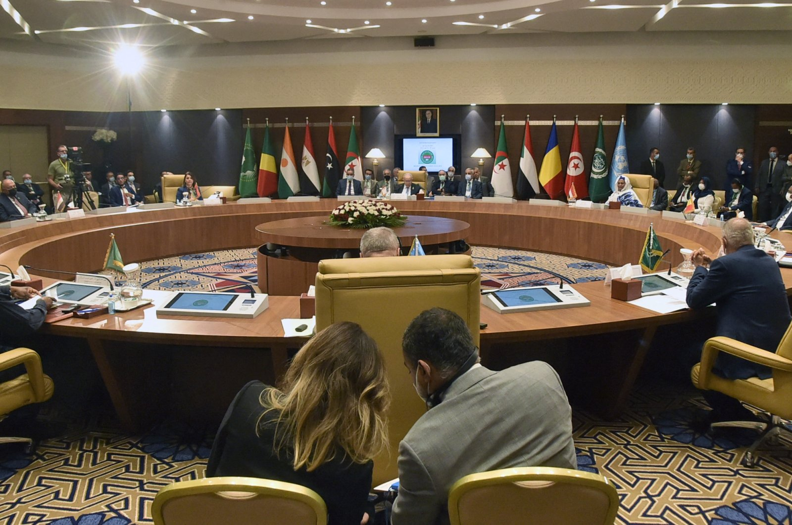 Officials attend a meeting by Libya's neighbors as part of international efforts to reach a political settlement to the country's conflict, in the Algerian capital Algiers, Aug. 30, 2021. (AFP Photo)