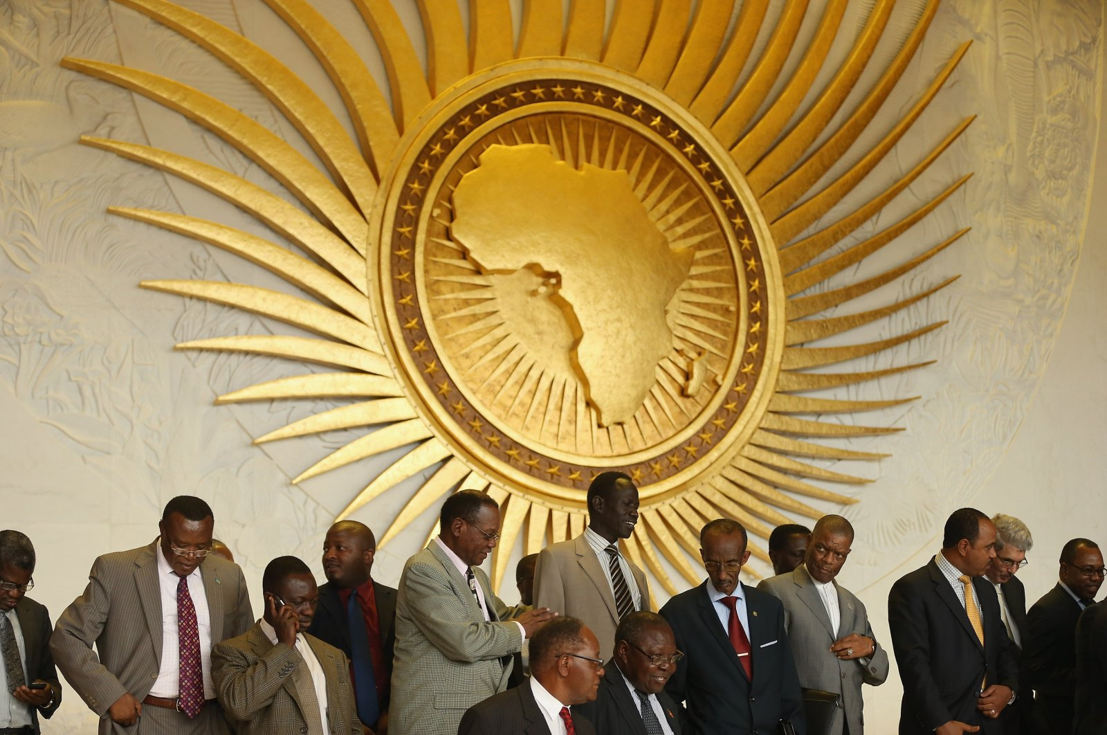 Delegates arrange themselves for a group picture during a visit by the German president to the headquarters of the African Union (AU) in Addis Ababa, Ethiopia on March 18, 2013. (Getty Images)