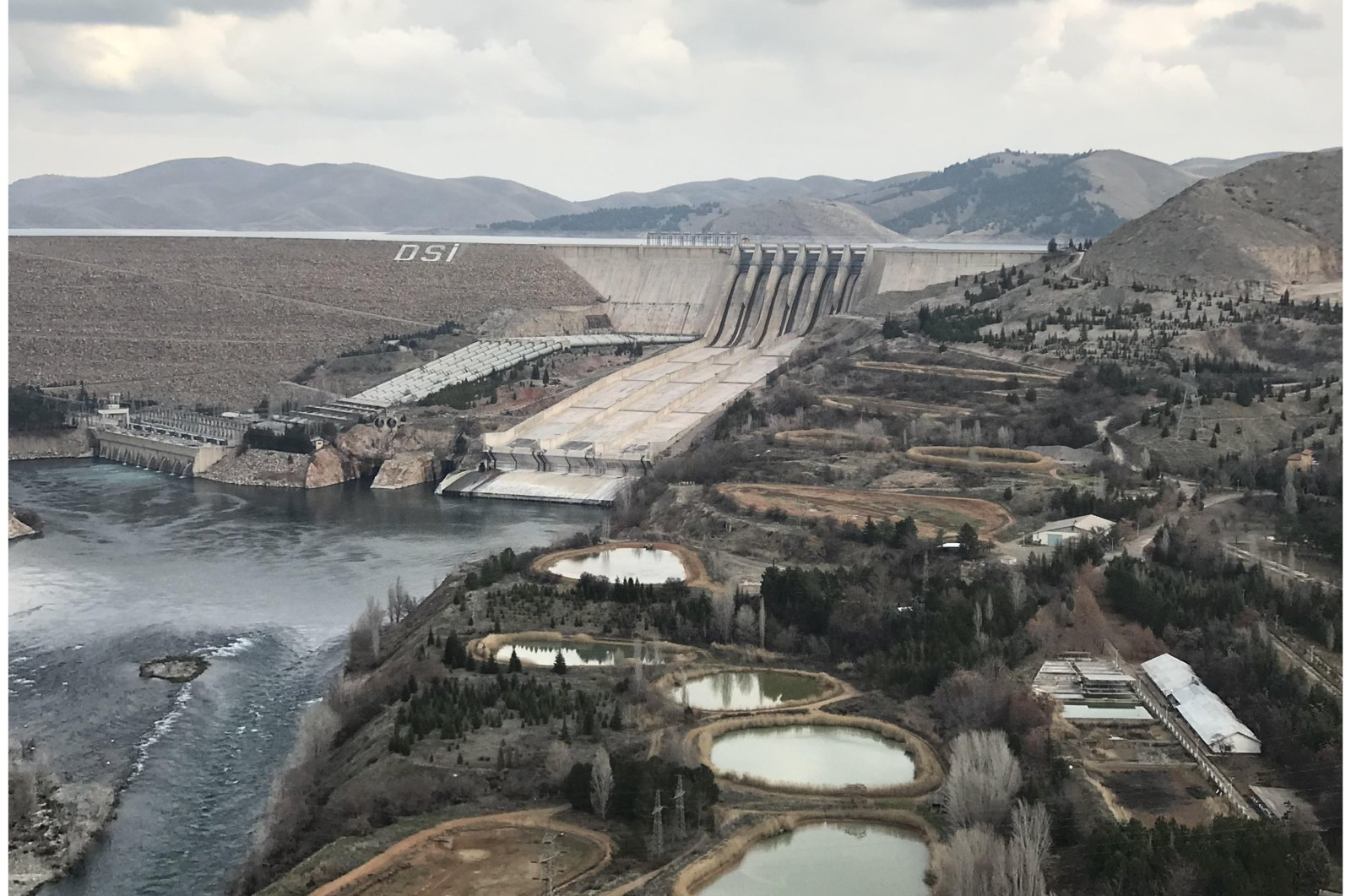 A view of Keban Dam and hydroelectric power plantin the eastern province of Elazığ, Turkey, Jan. 25, 2021. (AA Photo)