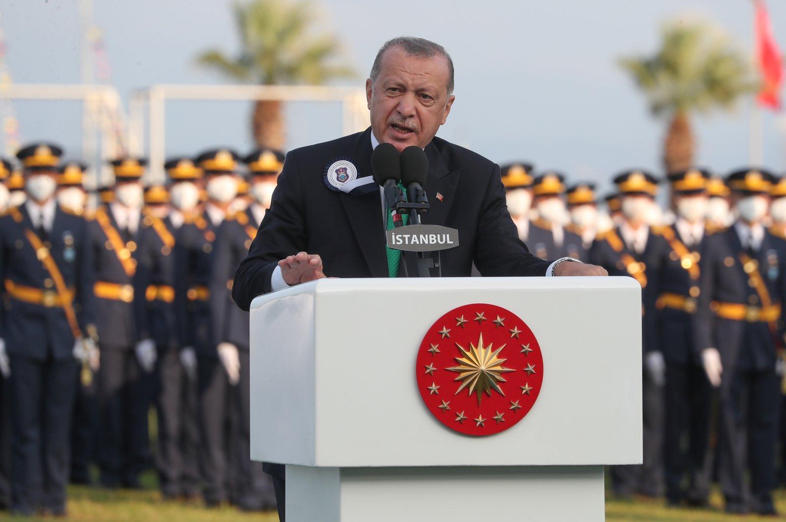 President Recep Tayyip Erdoğan speaks at the graduation ceremony of the Defense Ministry's cadet school in Istanbul, Turkey, Aug. 31, 2021. (DHA Photo)