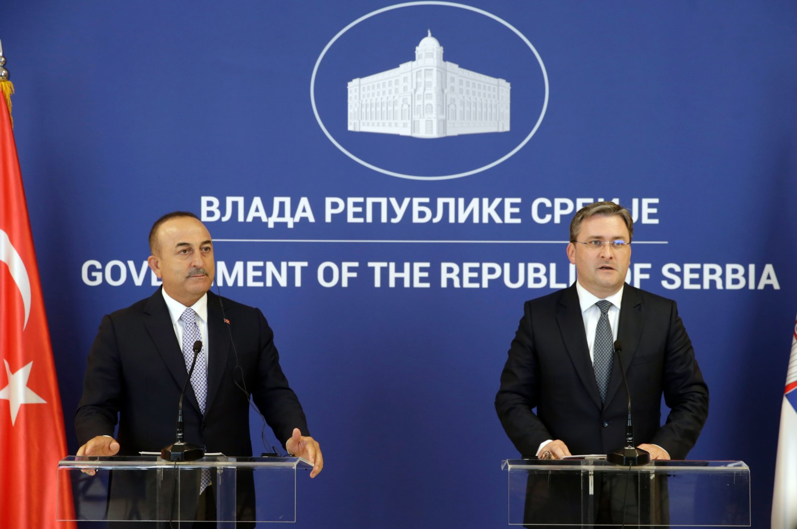 Serbian Foreign Minister Nikola Selakovic (R) speaks during a press conference with Turkish Foreign Minister MevlütÇavuşoğlu (L) after their meeting in Belgrade, Serbia, Aug. 31, 2021. (EPA Photo)