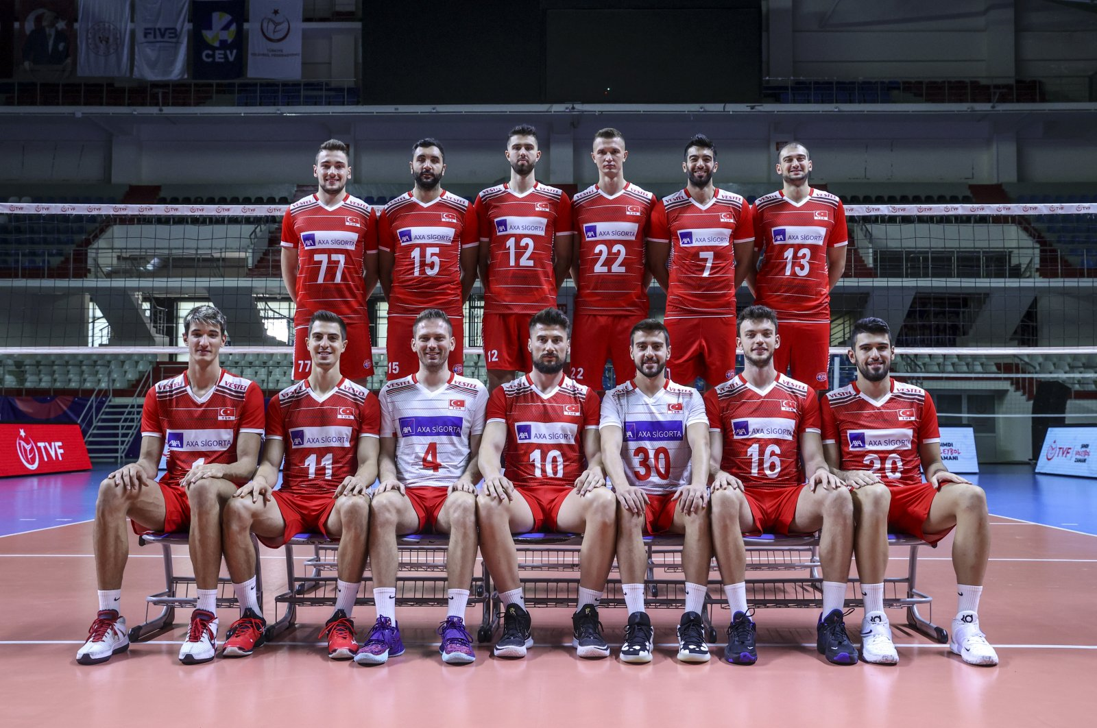 The Turkish men's national volleyball team poses for a group photo ahead of their 2021 CEV EuroVolley men's competition in Finland, Istanbul, Turkey, Aug. 27, 2021. (AA Photo)