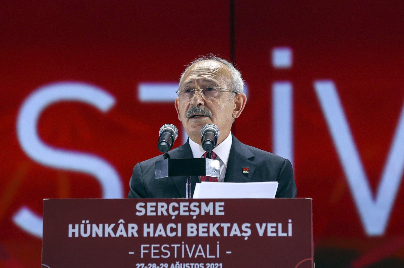 The main opposition Republican People's Party (CHP) Chair Kemal Kılıçdaroğlu speaks at an event in Istanbul, Turkey, Aug. 28, 2021. (AA Photo)
