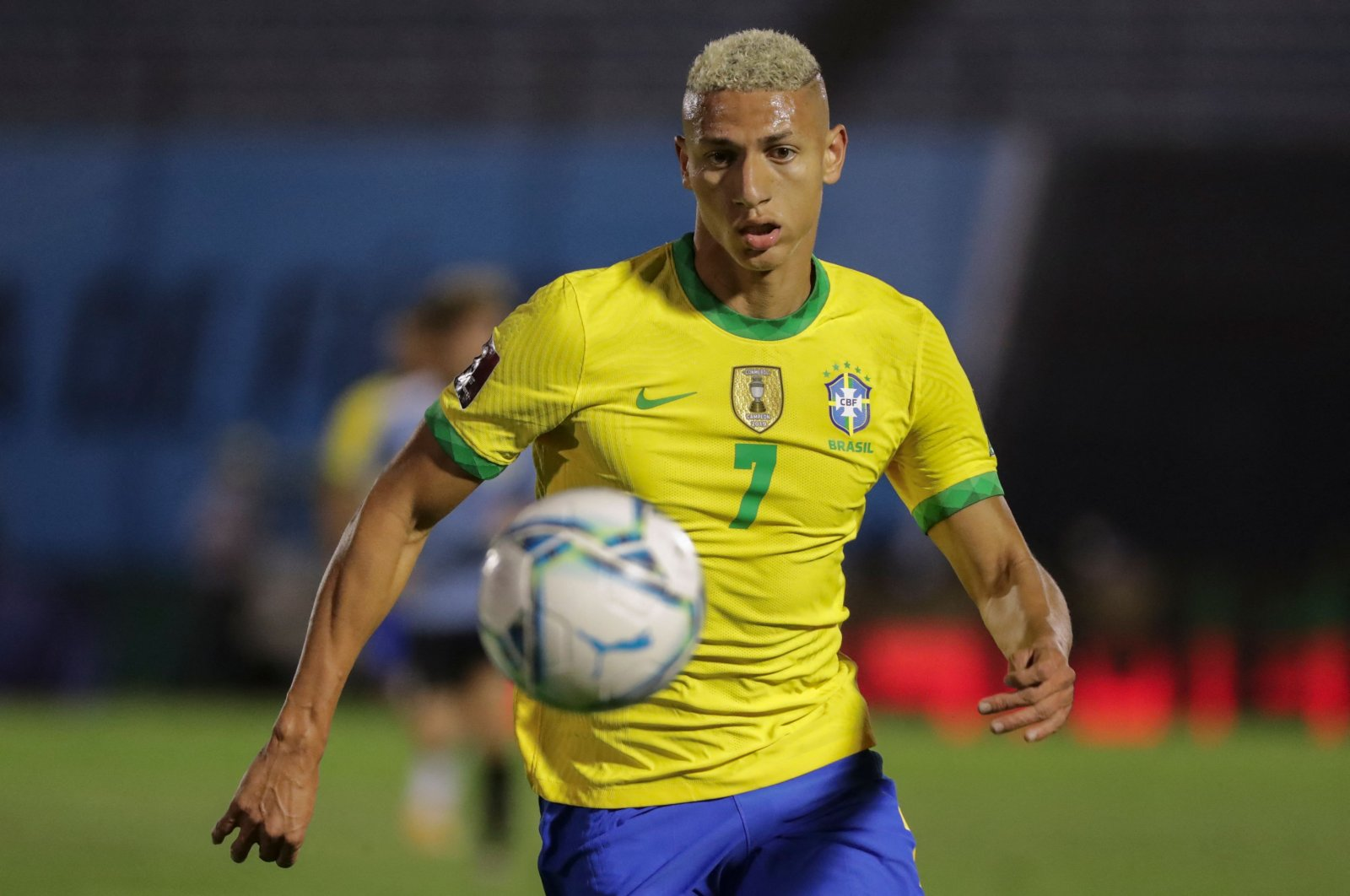 Brazil's Richarlison takes the ball during a closed-door 2022 FIFA World Cup South American qualifier match against Uruguay at the Centenario Stadium in Montevideo, Nov. 17, 2020. (AFP Photos)
